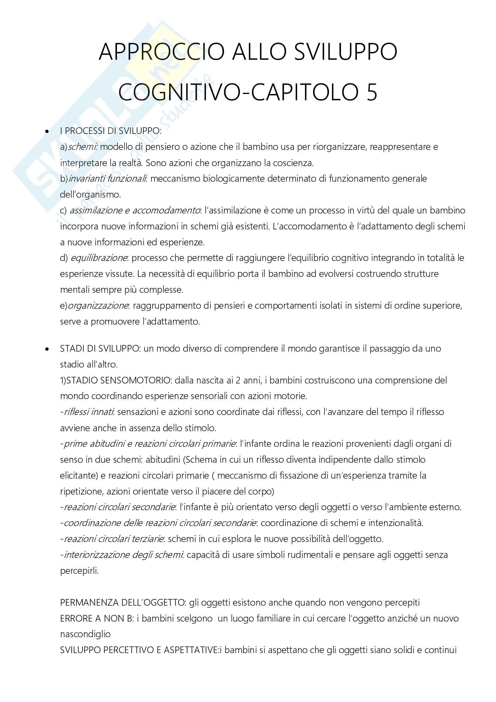 Riassunto esame Psicologia dello Sviluppo, prof. Cassibba, libro consigliato Psicologia dello Sviluppo, Santrock