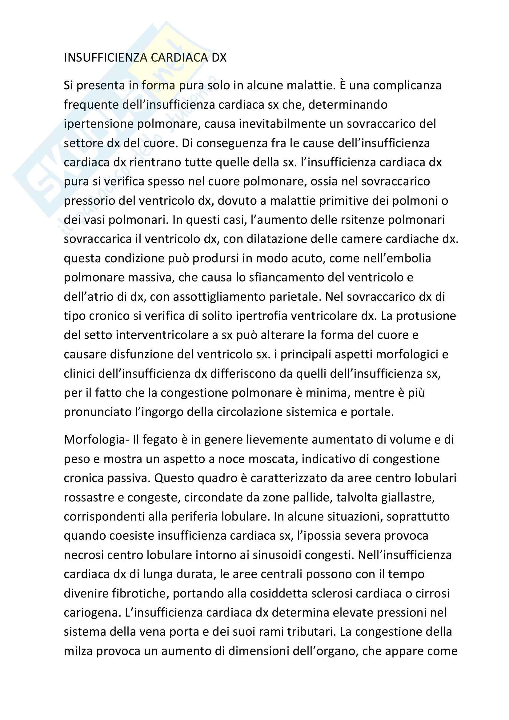 Anatomia patologica - Insufficienza cardiaca Dx e Sx
