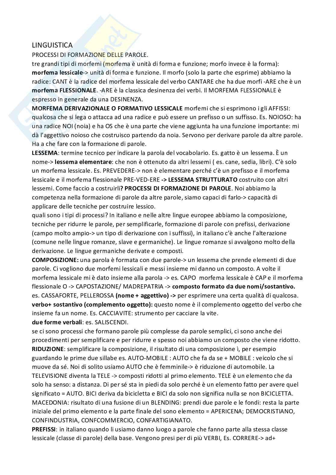 Linguistica generale - appunti Pag. 1