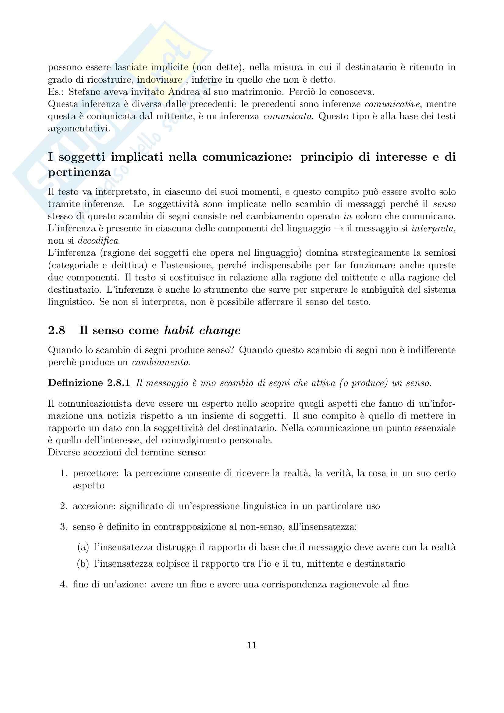 Riassunto esame Linguistica generale, prof. Gatti, libro consigliato La comunicazione verbale, Rigotti, Cigada Pag. 11