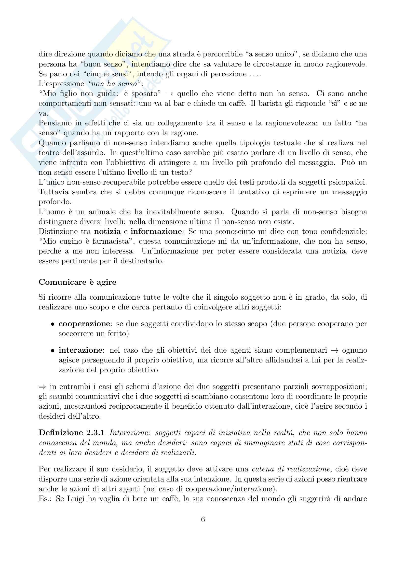 Riassunto esame Linguistica generale, prof. Gatti, libro consigliato La comunicazione verbale, Rigotti, Cigada Pag. 6