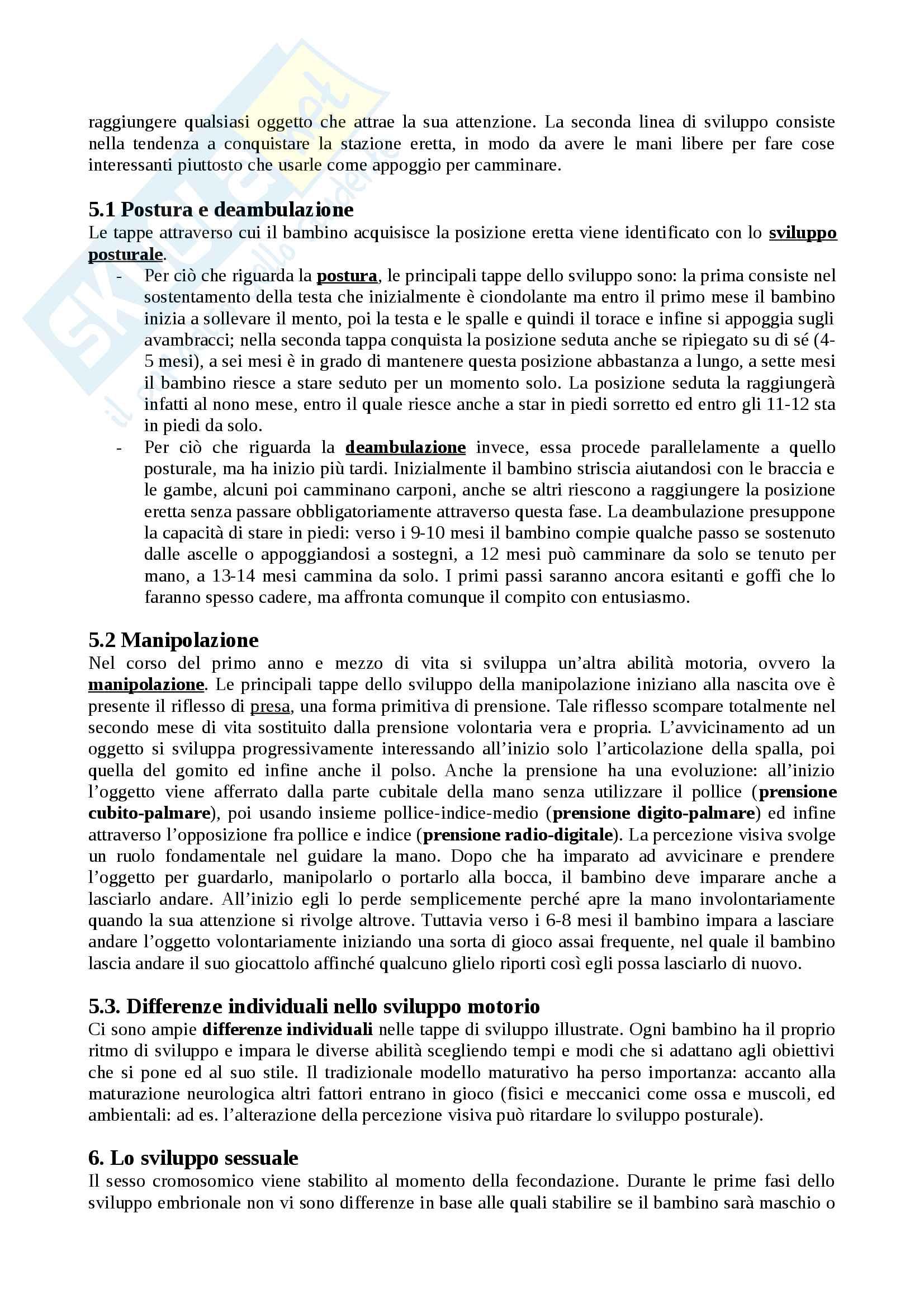 """Riassunto esame Psicologia dello sviluppo, docente Rosa Angela Fabio, libro consigliato """"Manuale Psicologia dello Sviluppo"""", Camaioni, Di Blasio Pag. 11"""