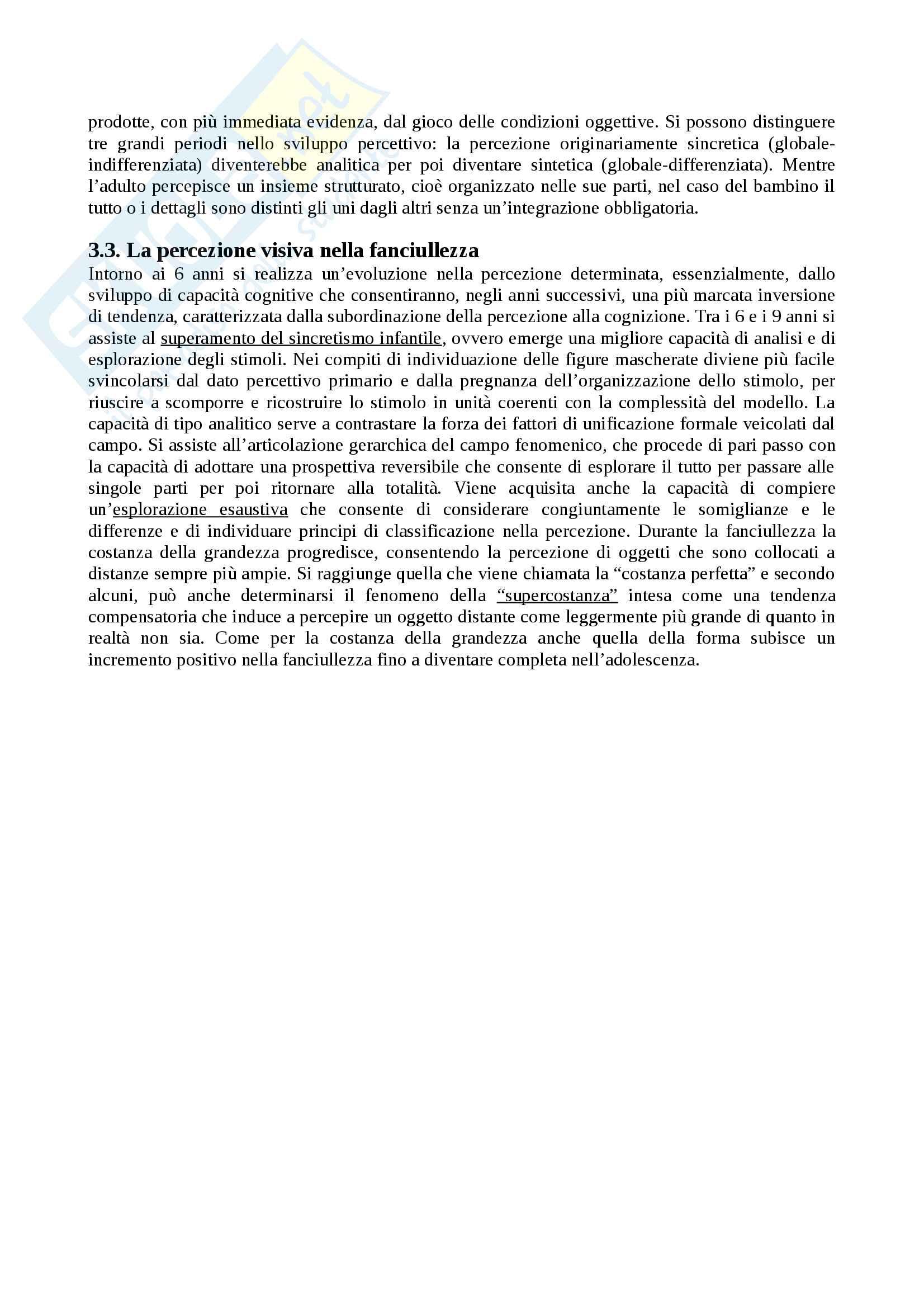 """Riassunto esame Psicologia dello sviluppo, docente Rosa Angela Fabio, libro consigliato """"Manuale Psicologia dello Sviluppo"""", Camaioni, Di Blasio Pag. 21"""