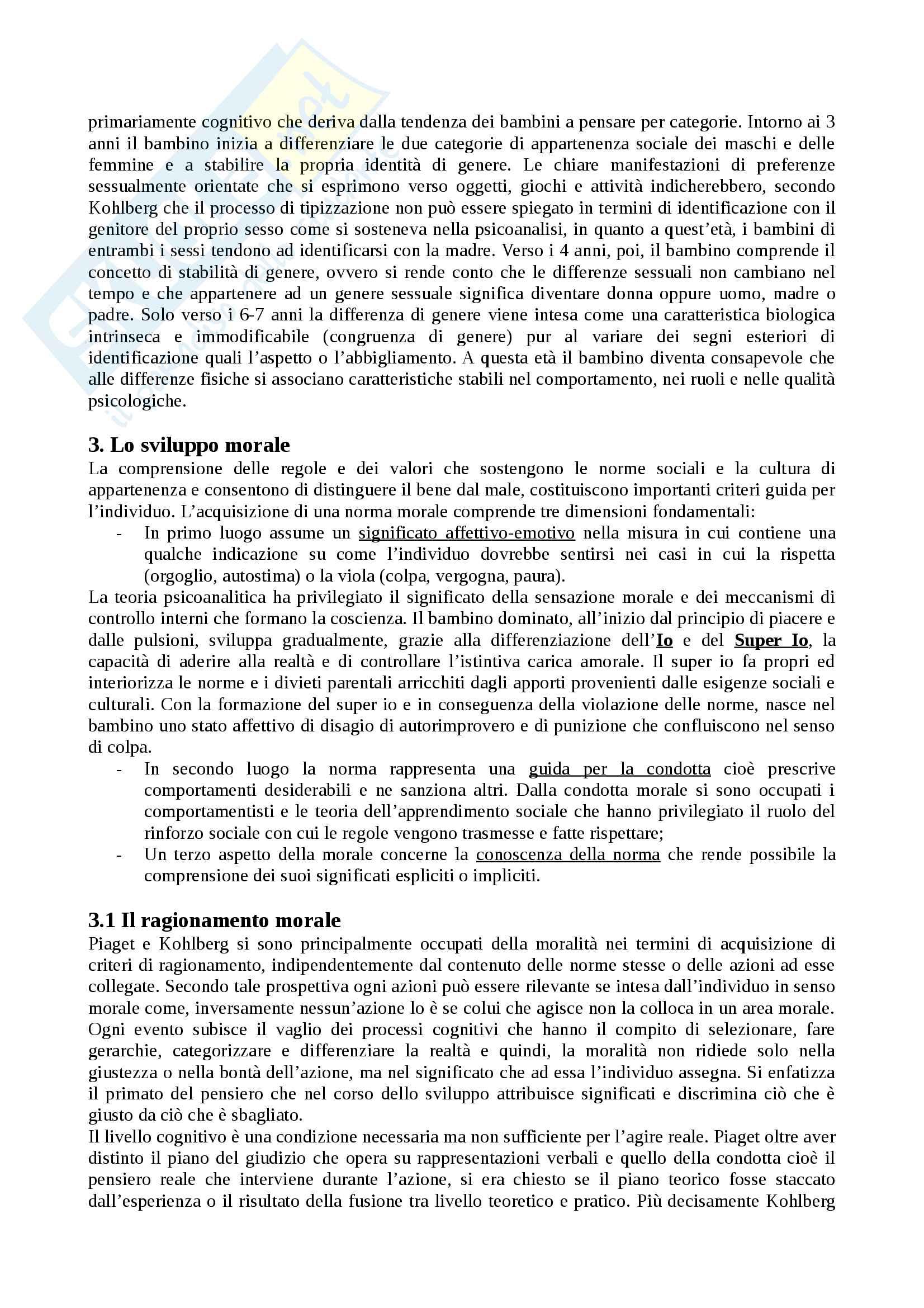 """Riassunto esame Psicologia dello sviluppo, docente Rosa Angela Fabio, libro consigliato """"Manuale Psicologia dello Sviluppo"""", Camaioni, Di Blasio Pag. 46"""
