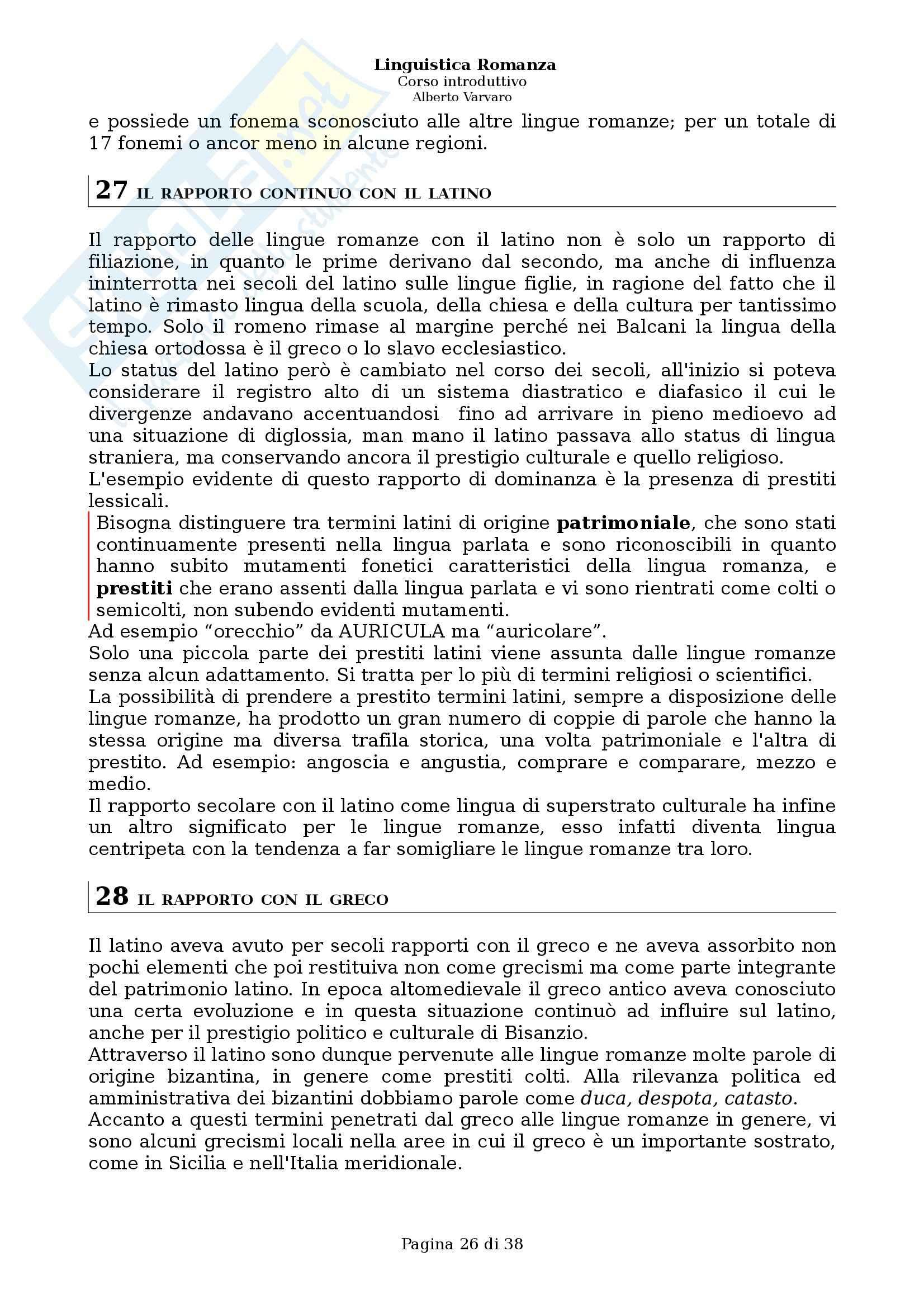 Riassunto esame Filologia e linguistica romanza, Linguistica romanza: Corso introduttivo, A. Varvaro, prof. Asperti Pag. 26
