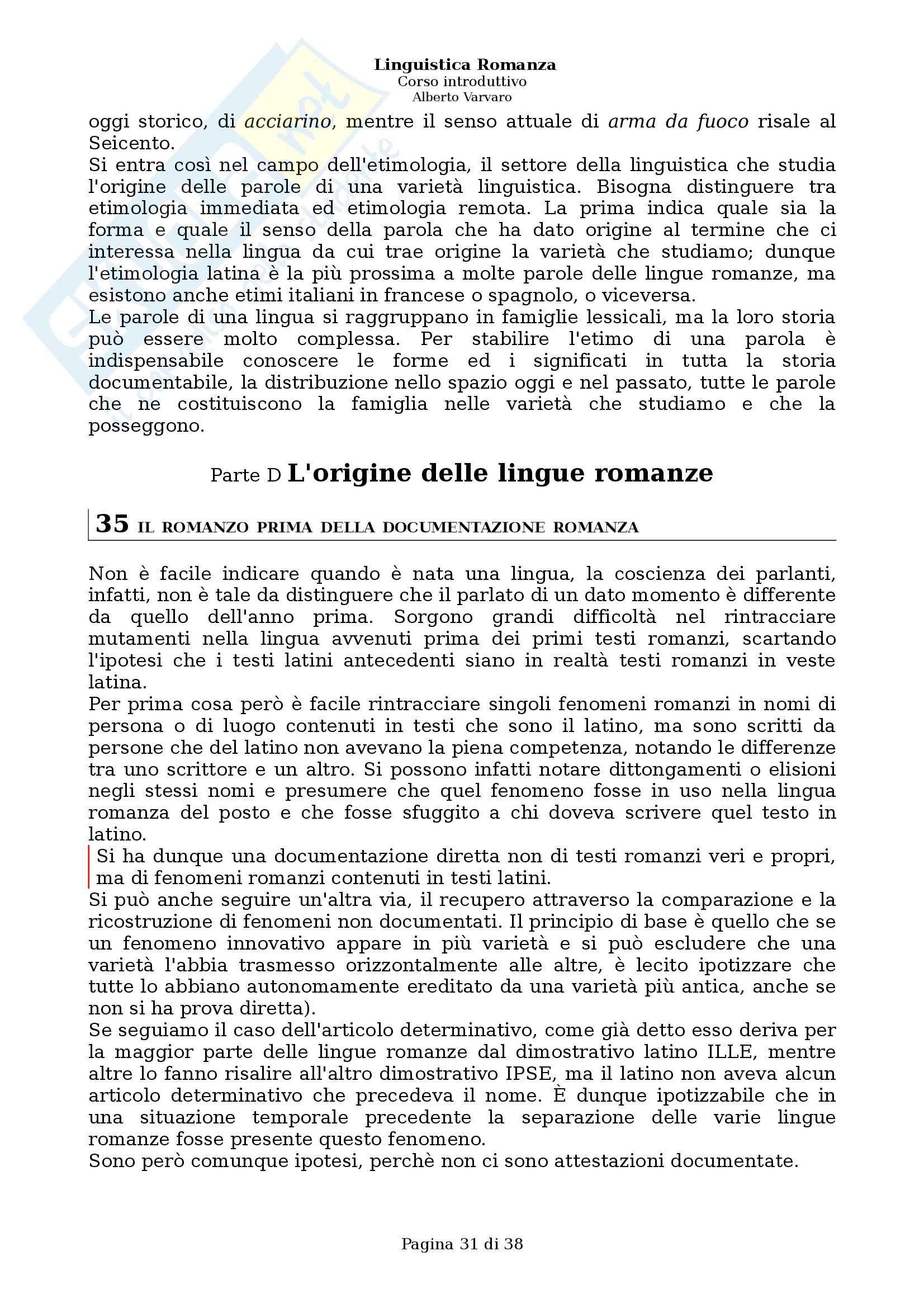 Riassunto esame Filologia e linguistica romanza, Linguistica romanza: Corso introduttivo, A. Varvaro, prof. Asperti Pag. 31