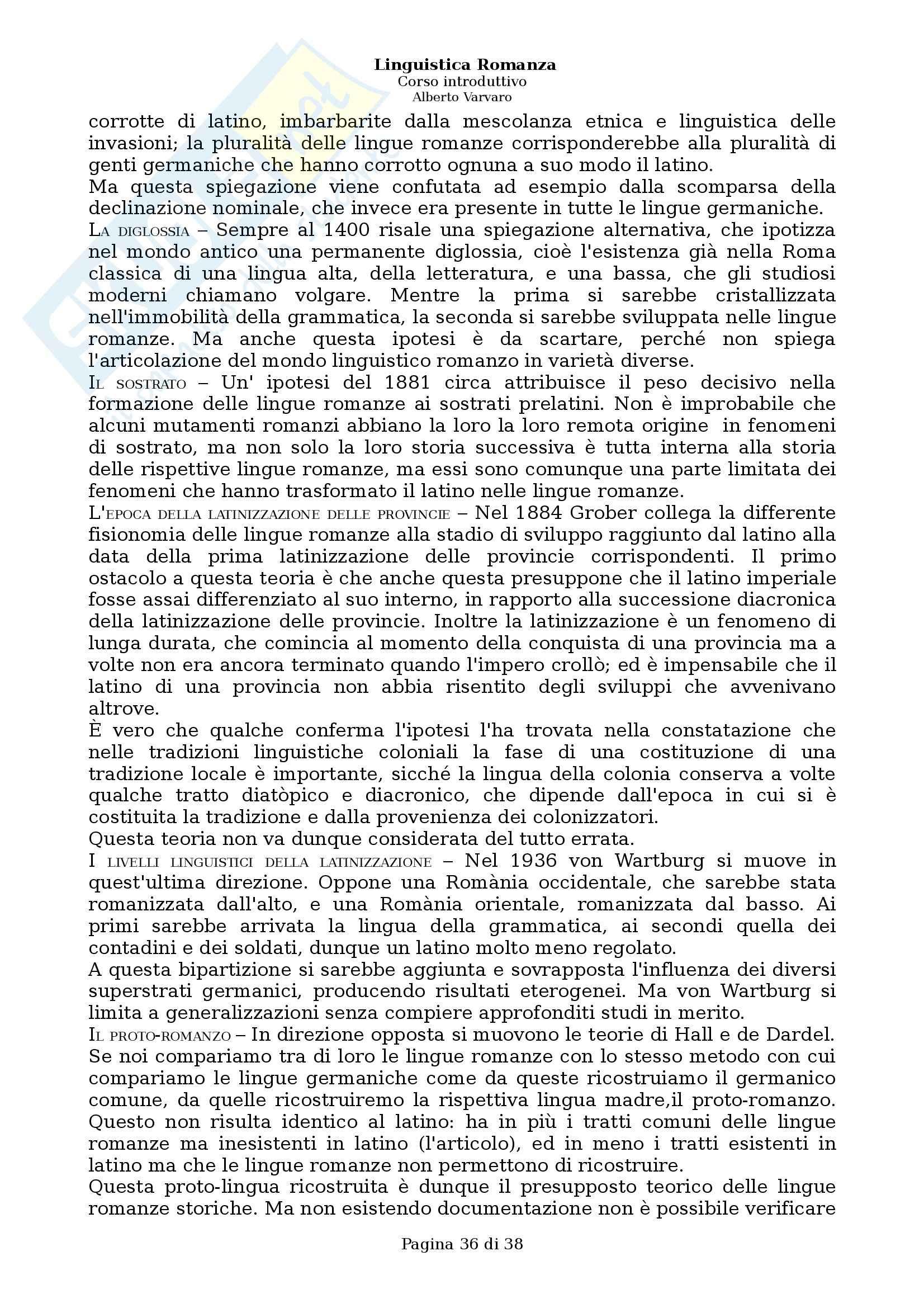 Riassunto esame Filologia e linguistica romanza, Linguistica romanza: Corso introduttivo, A. Varvaro, prof. Asperti Pag. 36
