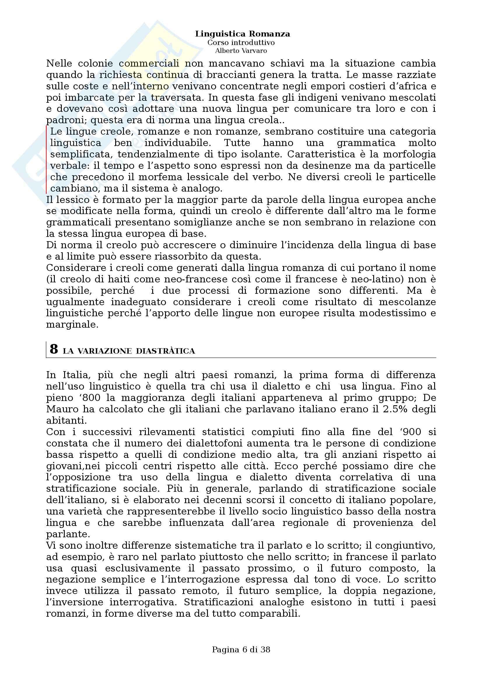 Riassunto esame Filologia e linguistica romanza, Linguistica romanza: Corso introduttivo, A. Varvaro, prof. Asperti Pag. 6