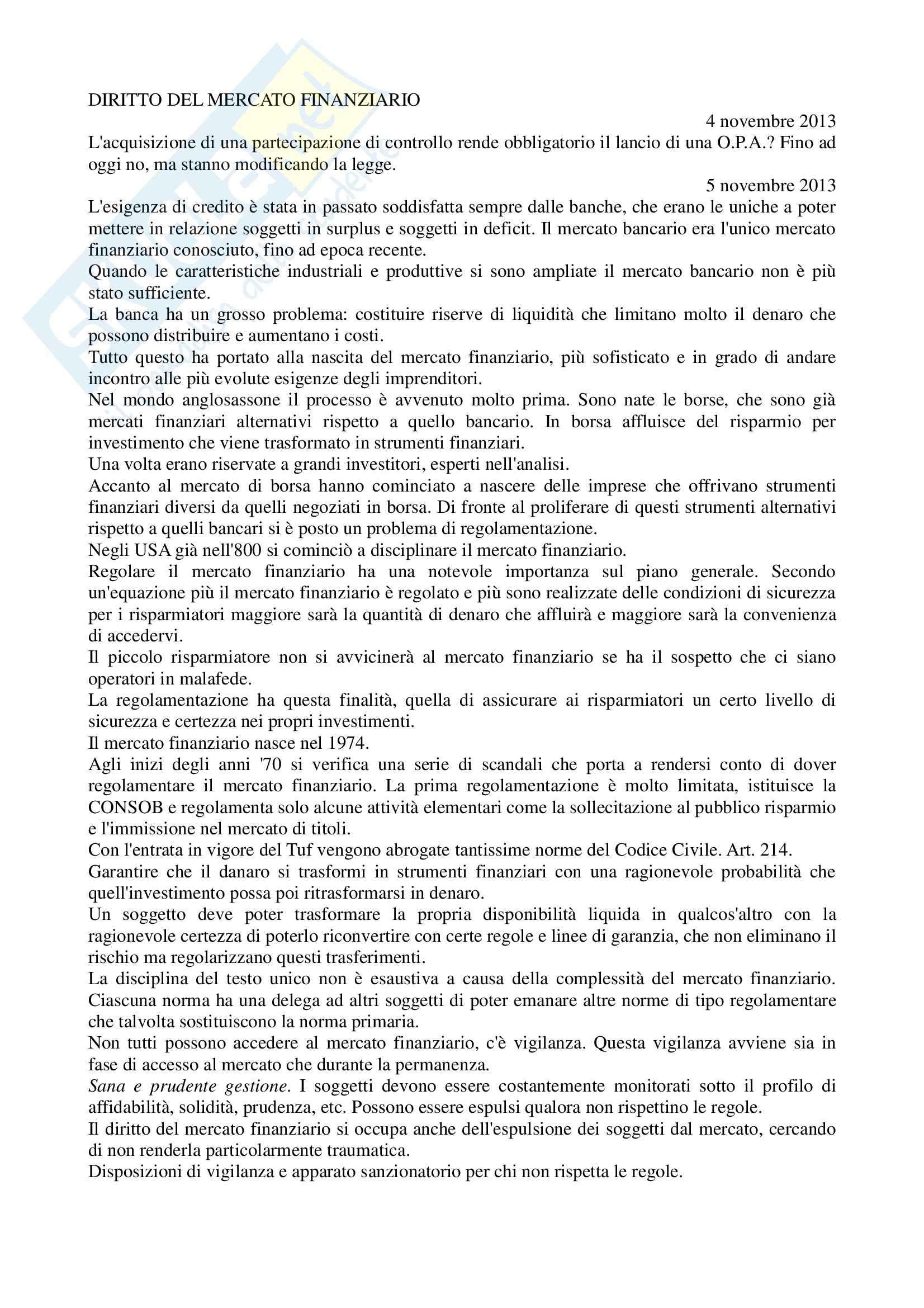 Diritto del mercato finanziario - Appunti parte 1