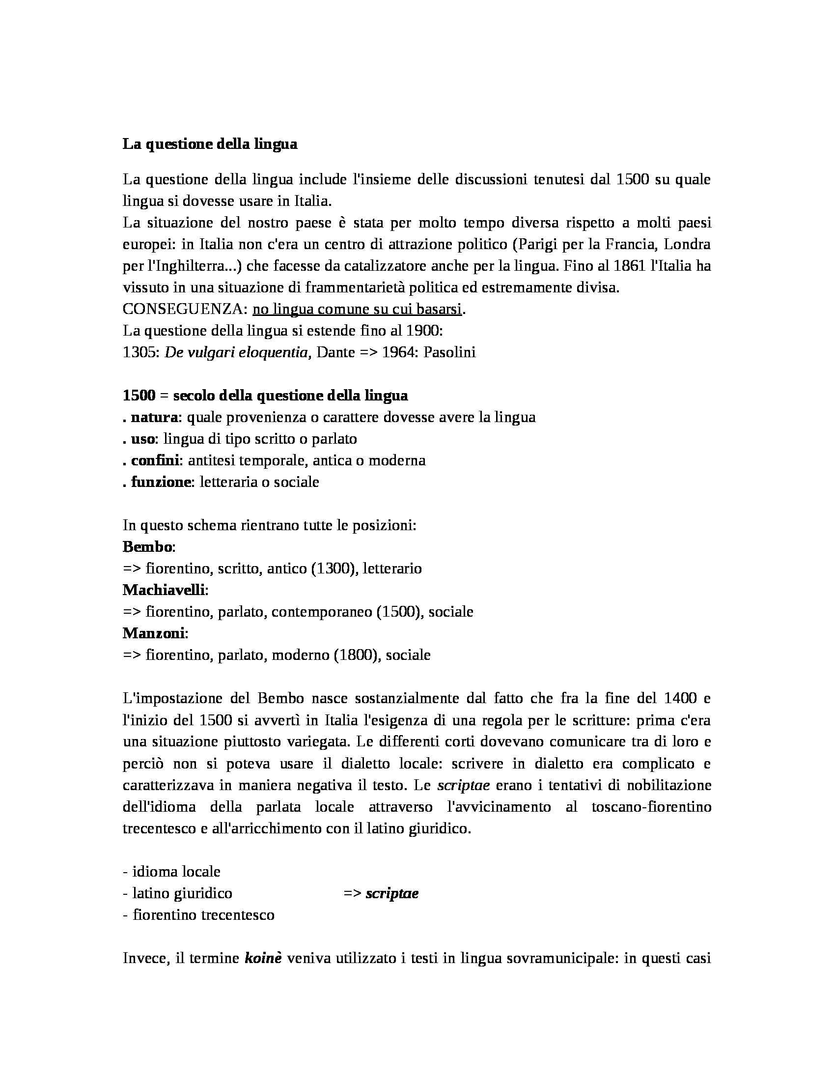 Storia della lingua italiana - questione della lingua
