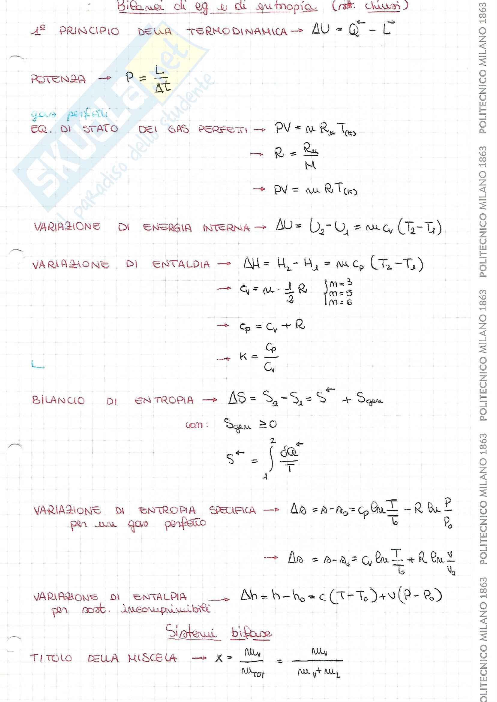Formulario del corso ''Fisica Tecnica'', prof. Dubini