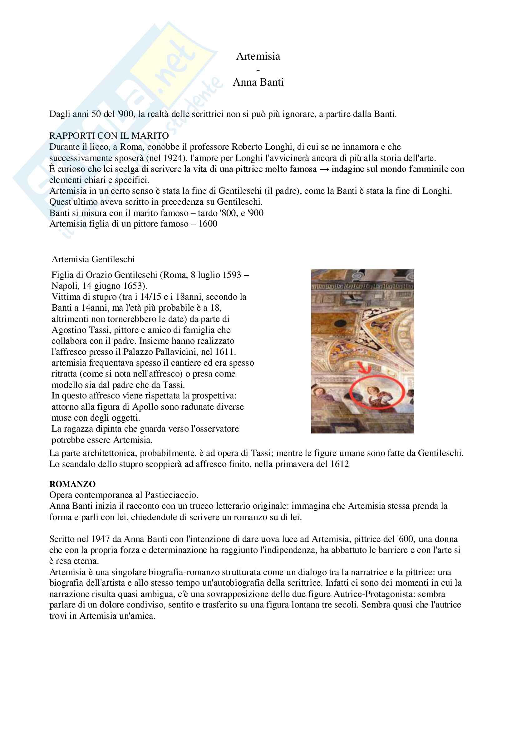 """Riassunto esame letteratura italiana contemporanea, prof. Bazzocchi, libro consigliato """"Artemisia"""" - Anna Banti"""