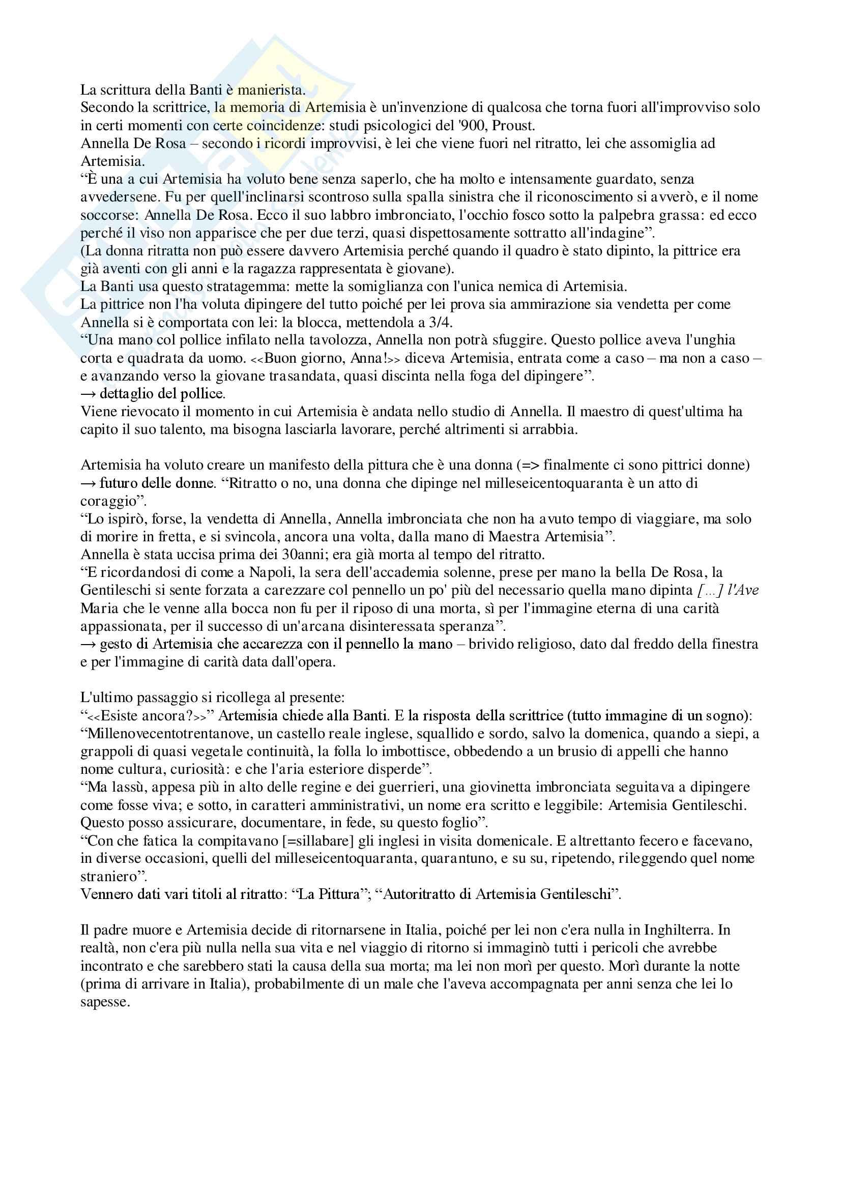 """Riassunto esame letteratura italiana contemporanea, prof. Bazzocchi, libro consigliato """"Artemisia"""" - Anna Banti Pag. 11"""