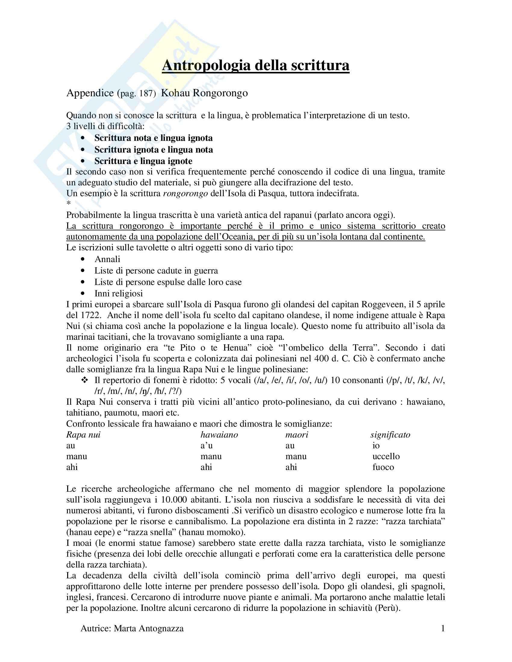 Linguistica - antropologia della scrittura - Rongorongo