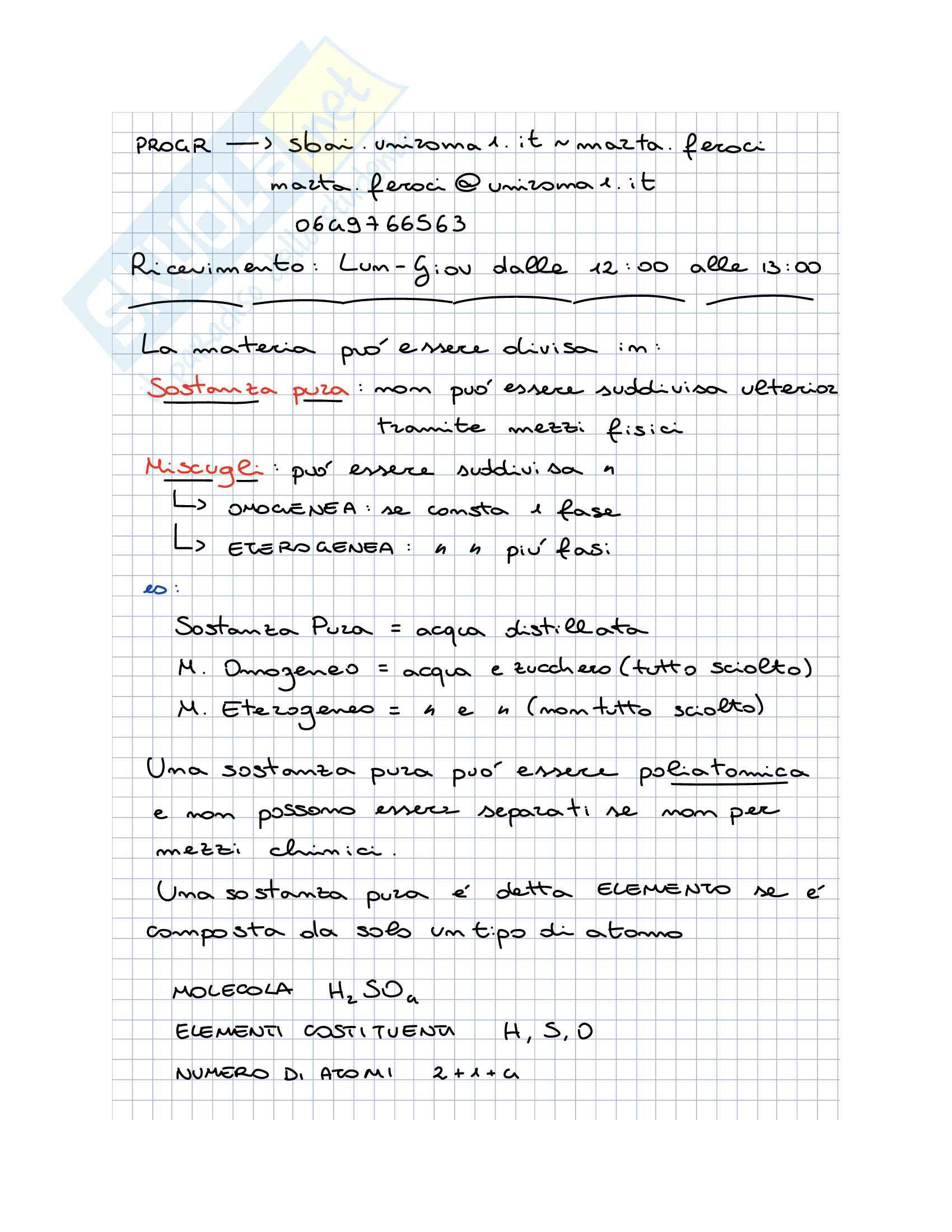 Chimica - Appunti per il I Esonero