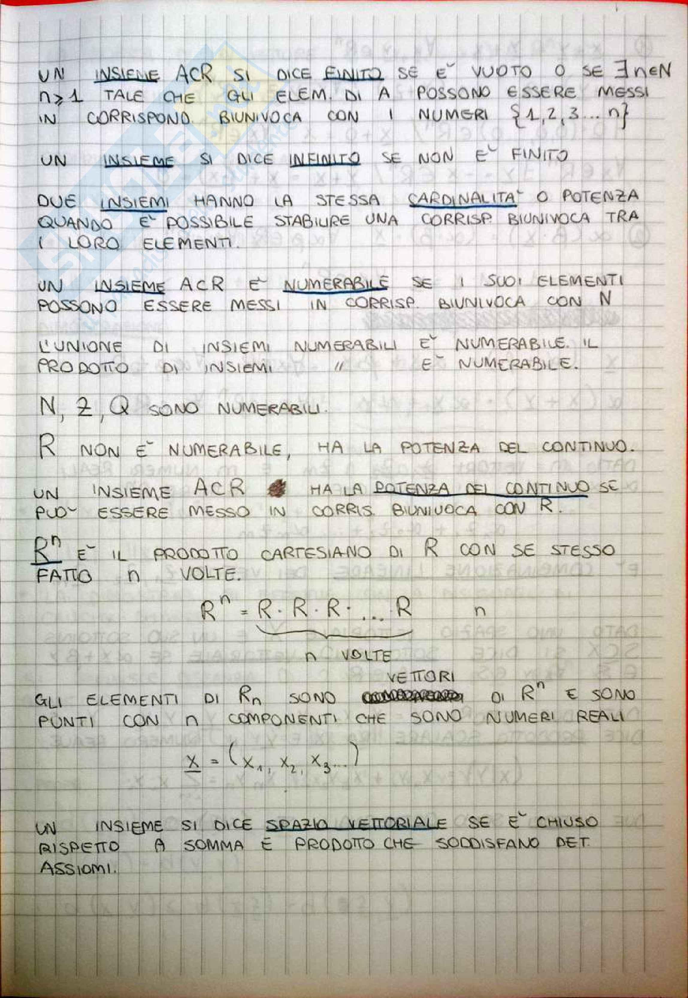 appunto E. Vigna Matematica generale