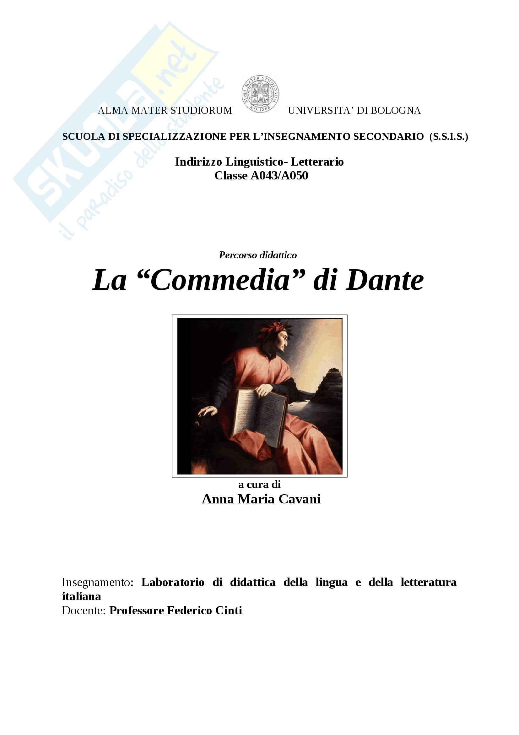 Divina Commedia di Dante - Unità didattica sui brani comici e divertenti dell'Inferno per la scuola superiore