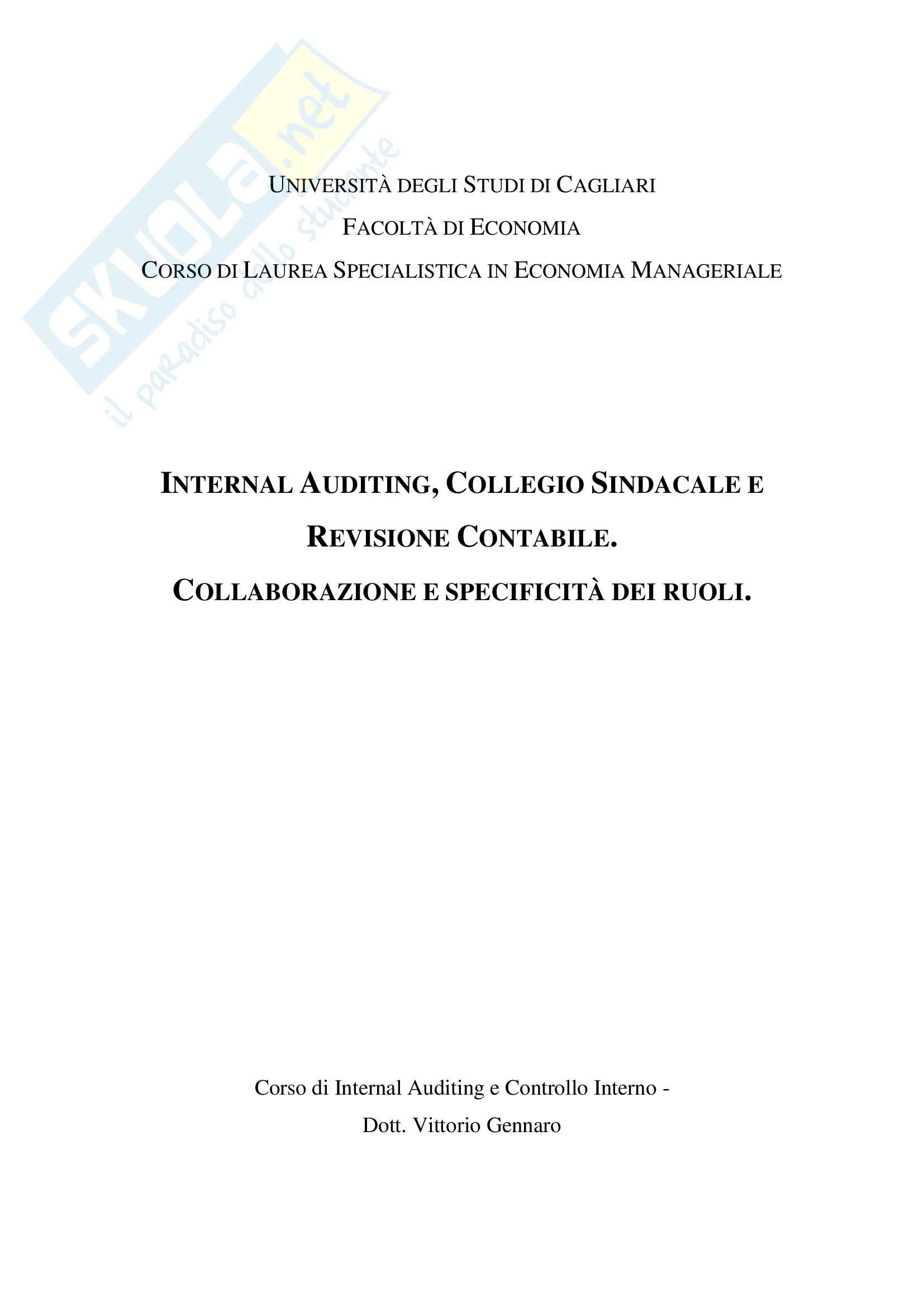 Internal Auditing e Controllo Interno - Appunti