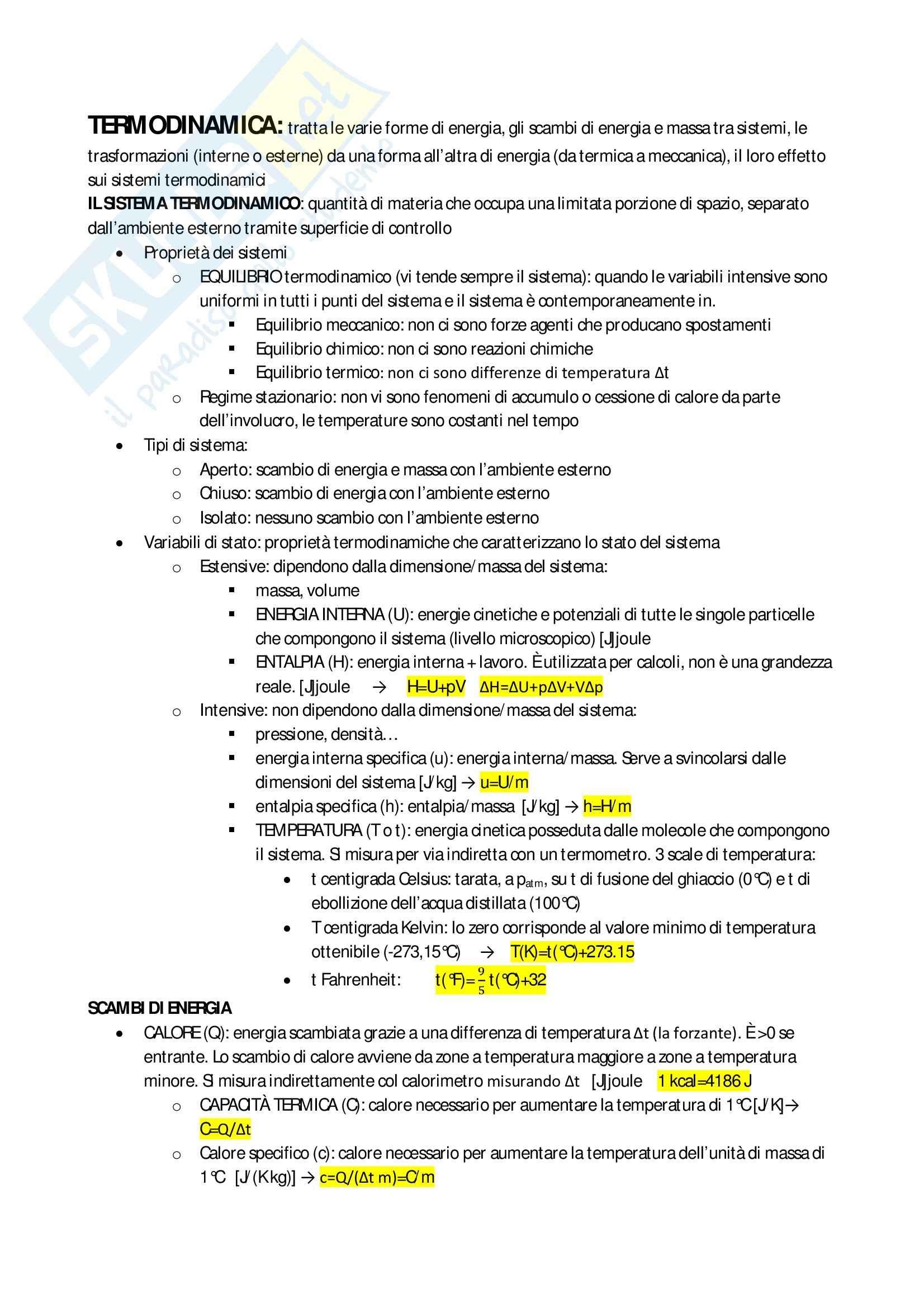 Schemi: Appunti di Termofisica