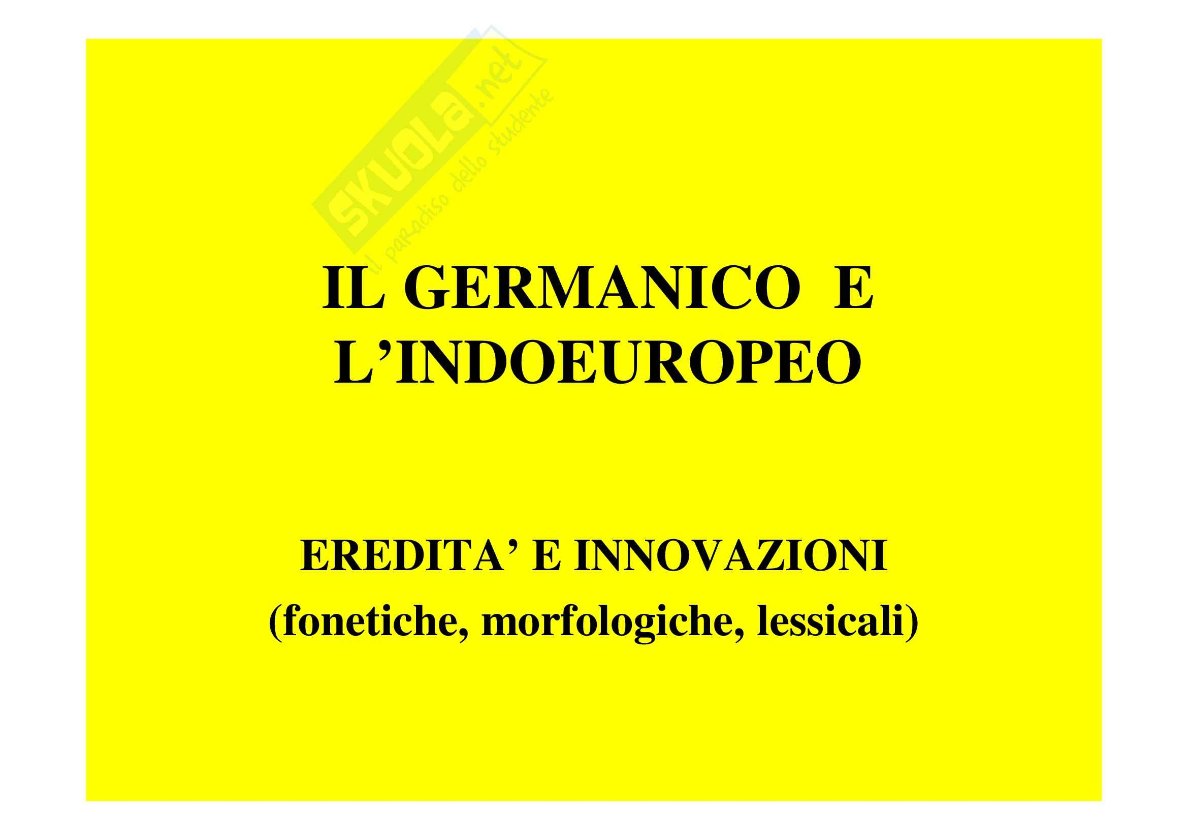 Linguistica germanica - germanico e indoeuropeo