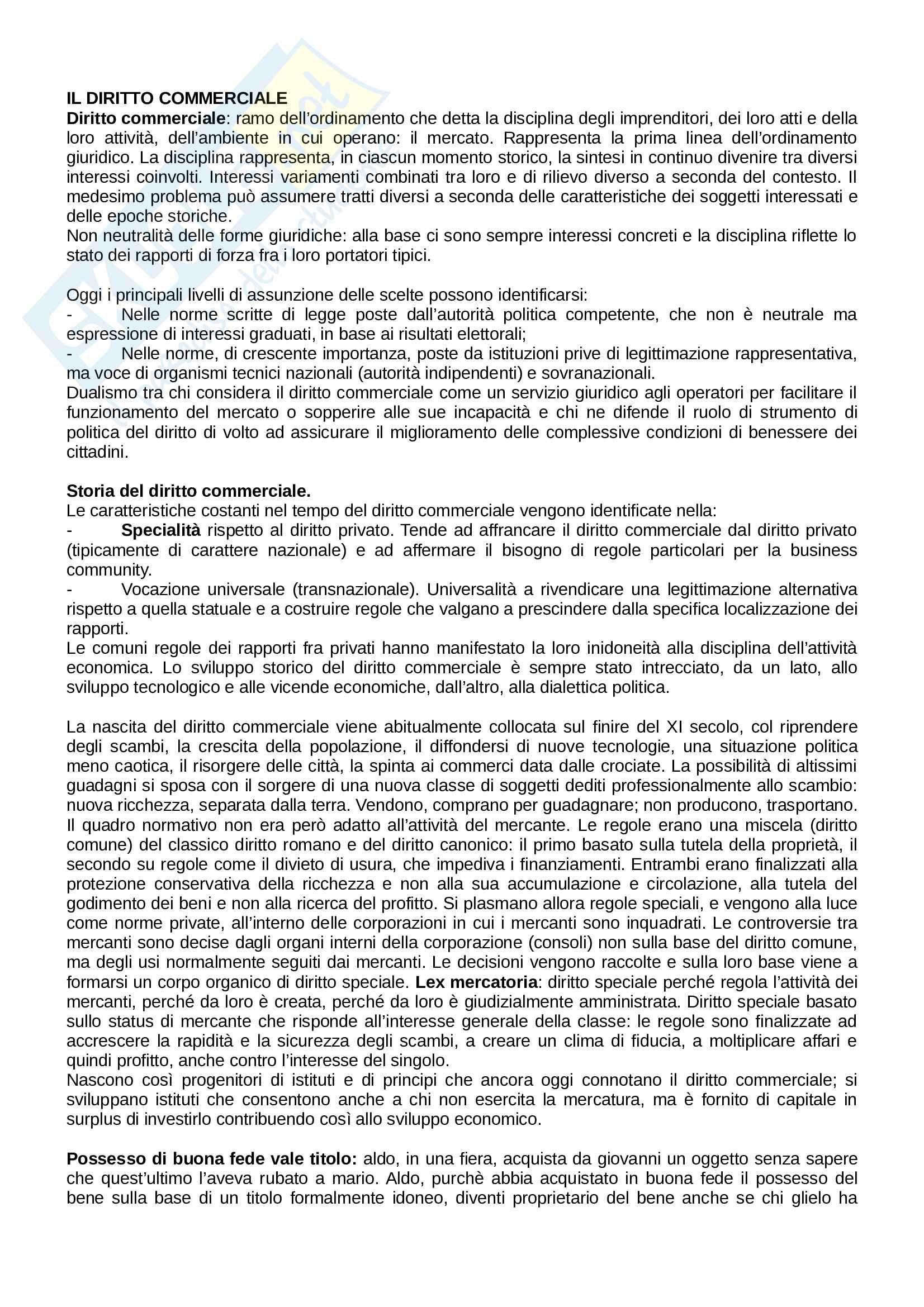 Riassunto esame Diritto Commerciale, prof. De Mari, libro consigliato Corso di Diritto Commerciale di Presti, Rescigno Pag. 1