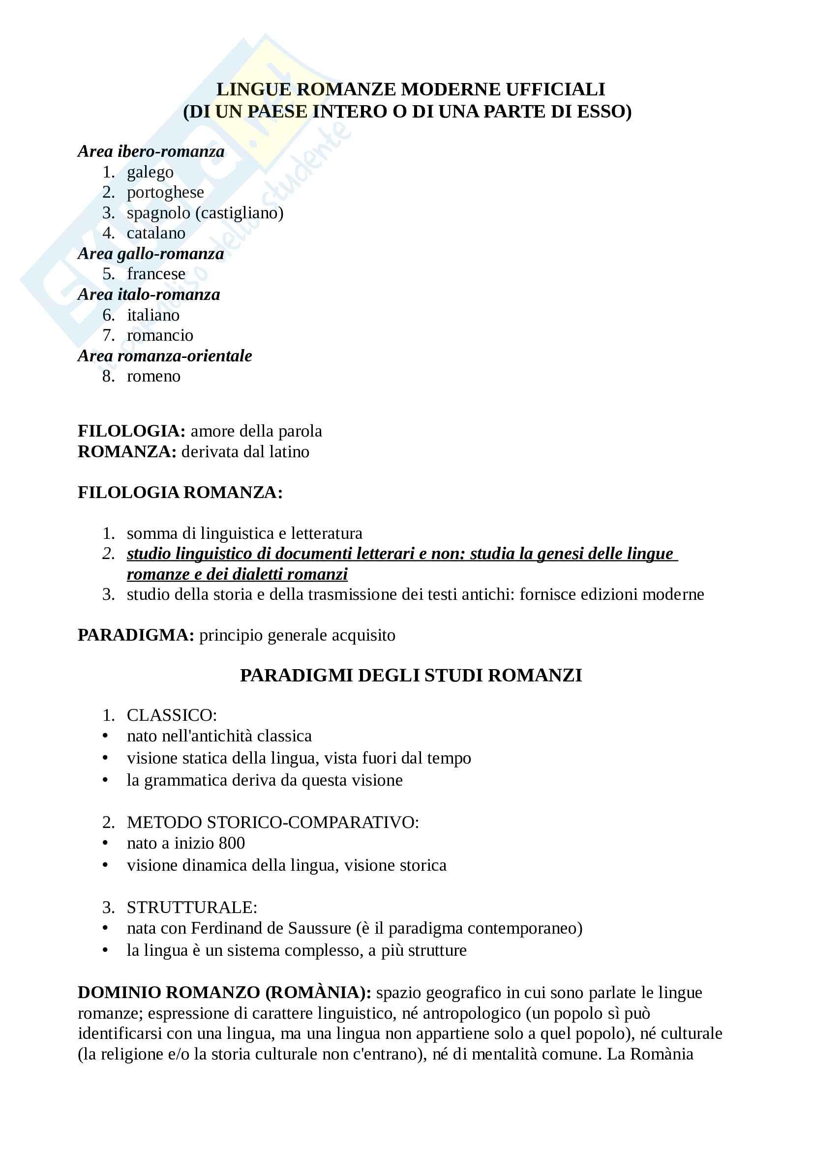 Riassunto esame filologia romanza, prof Peron, libro consigliato Manuale di Linguistica e Filologia Romanza, Renzi, Andreose