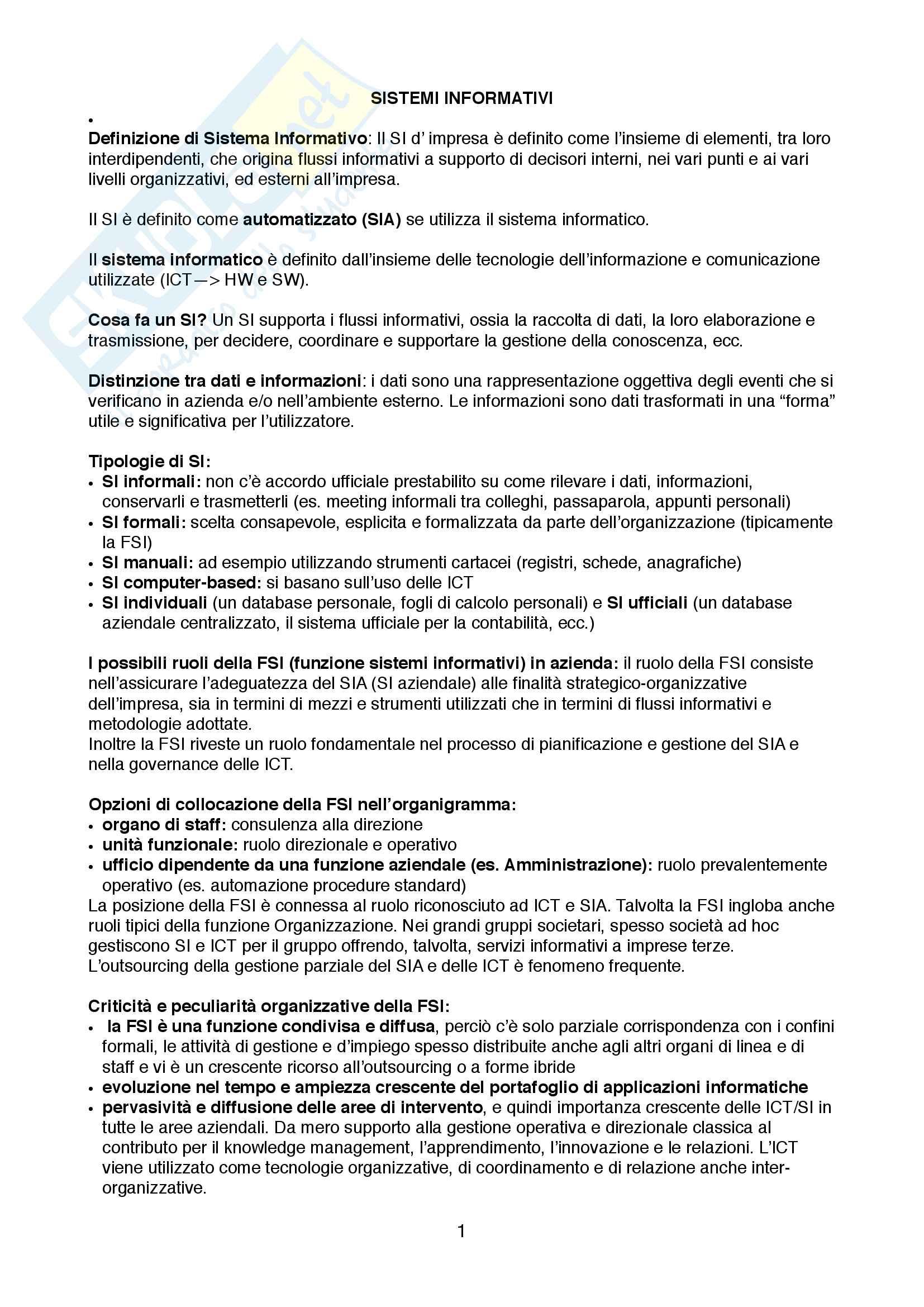Appunti di Organizzazione dei sistemi informativi aziendali, I sistemi informativi nell'organizzazione d'impresa
