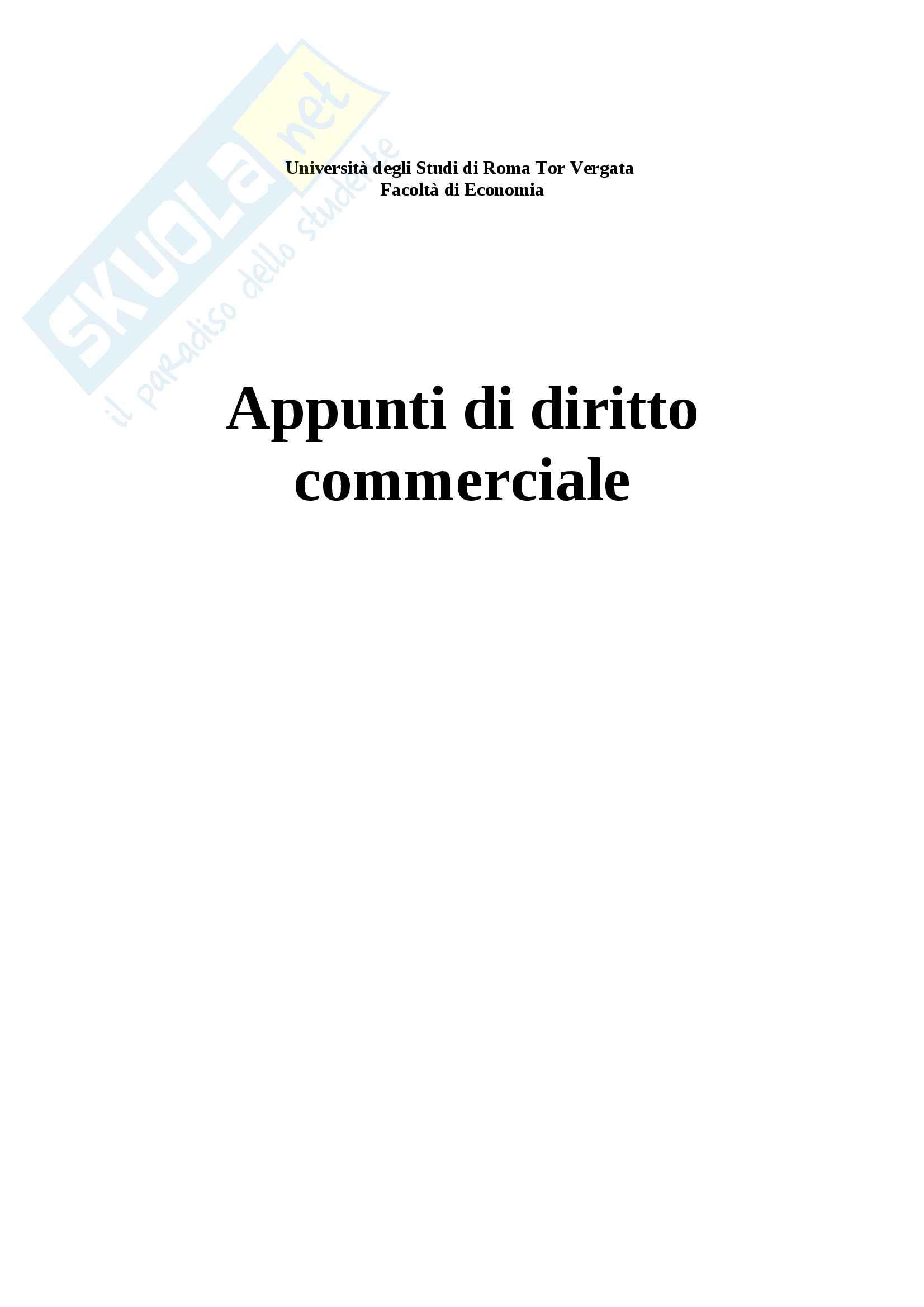Riassunto esame diritto commerciale, Docente Santoni, Libro Manuale diritto commerciale, Campobasso