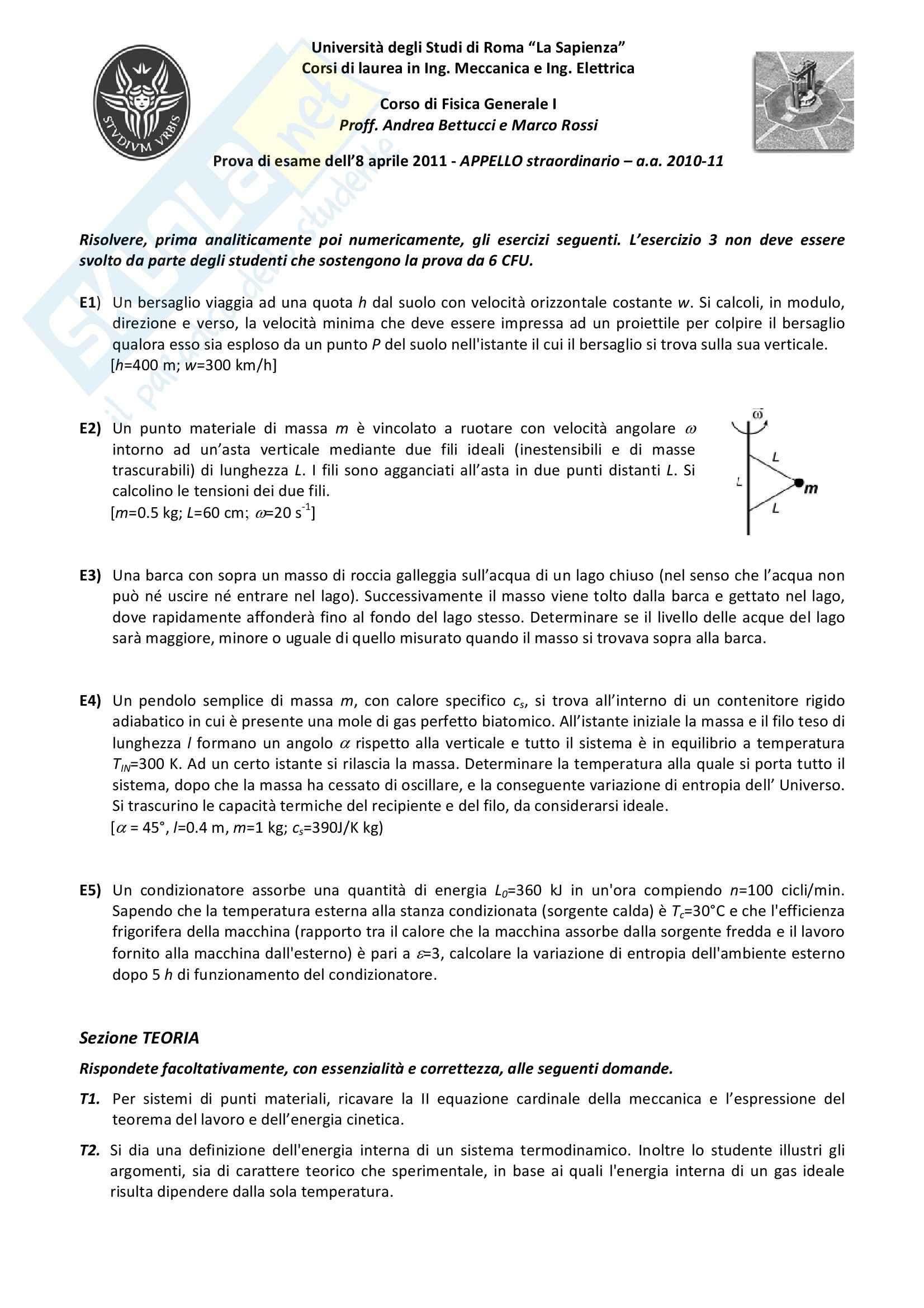 esercitazione A. Bettucci Fisica Generale I