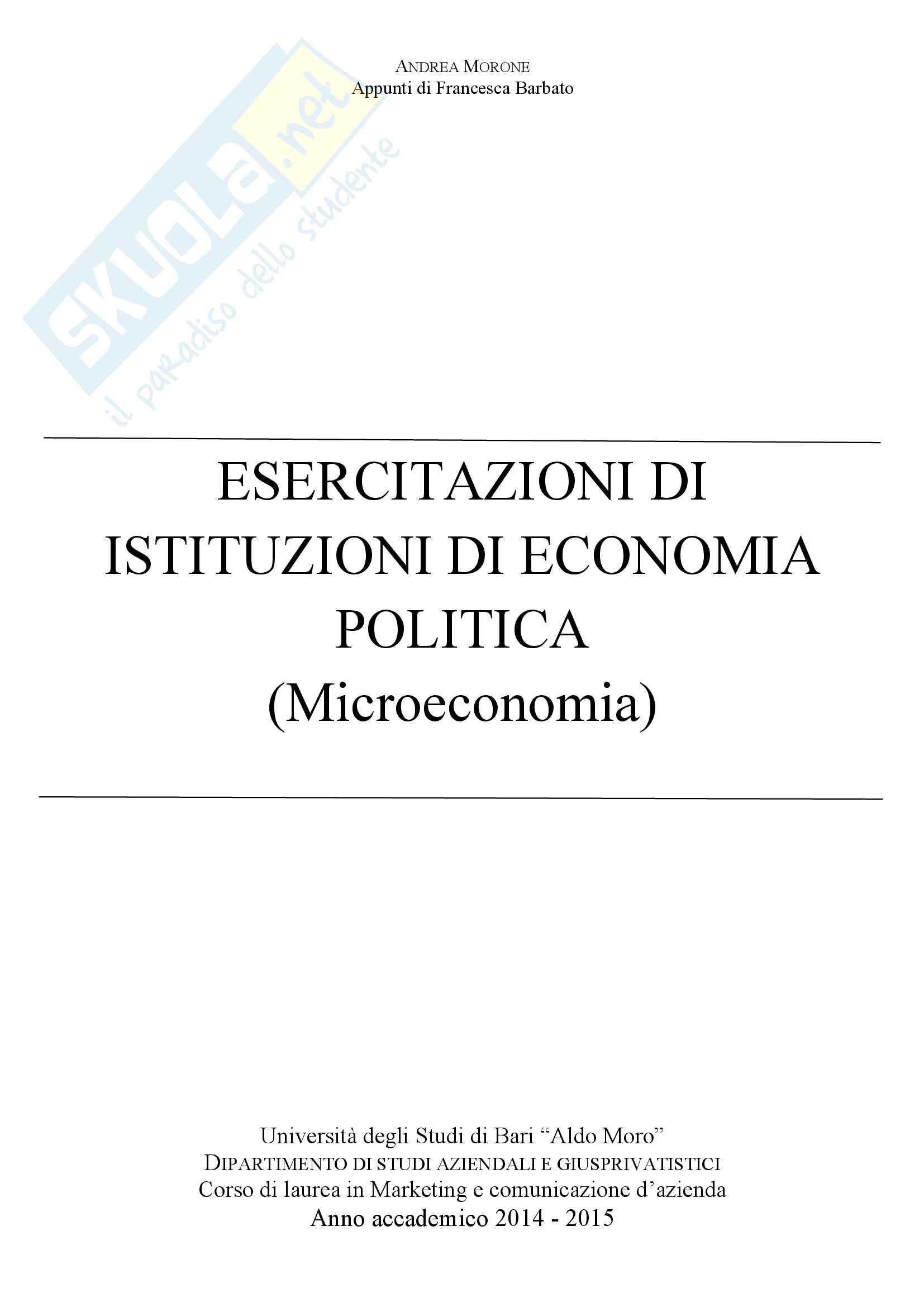 Esercitazioni di Istituzioni di Economia politica