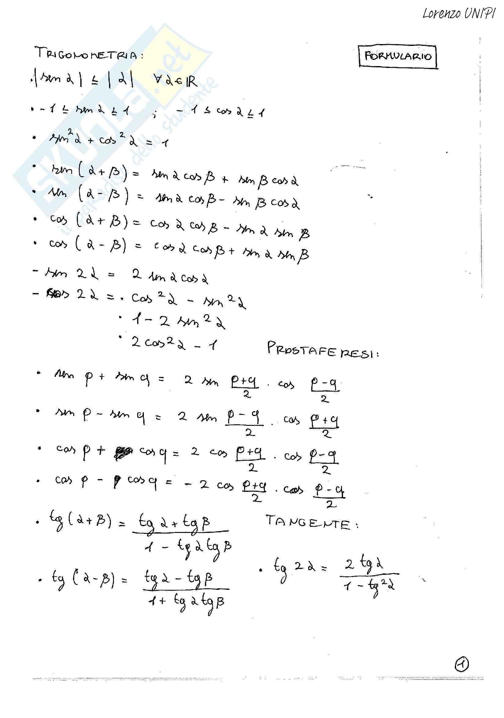 Compiti svolti, Analisi Matematica uno