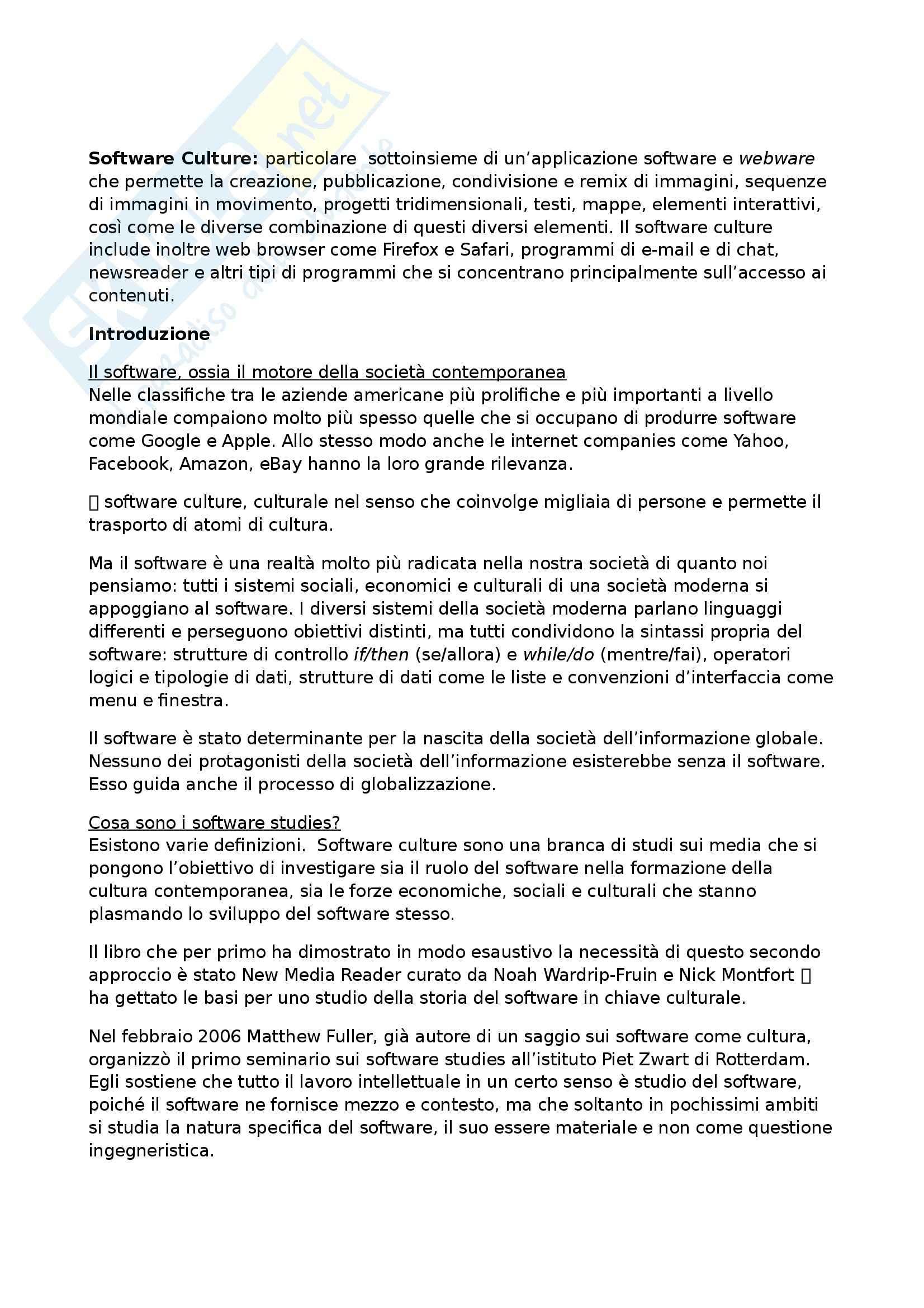 Riassunto esame Mass Media, New Media e Società delle Reti, prof. Pireddu, libro consigliato Software Culture, Manovich