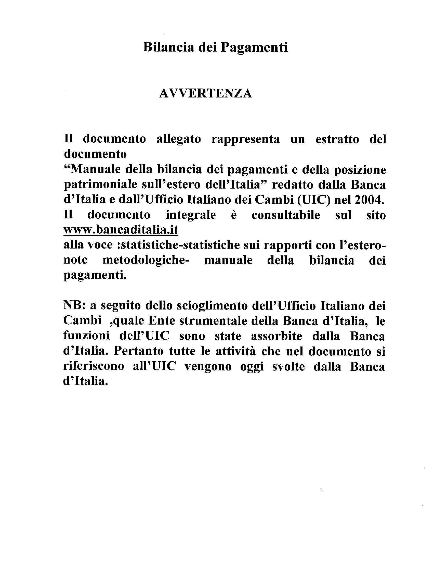 Manuale bilancia dei pagamenti italiana 2004