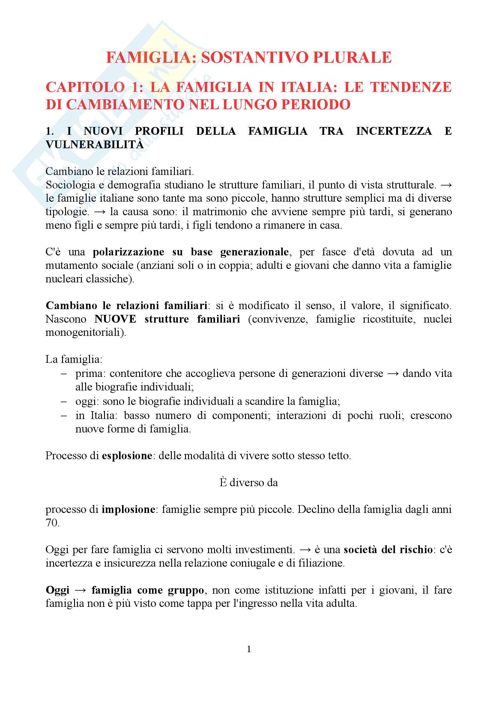 """Sunto di sociologia della famiglia, docente Diego Mesa, libro consigliato """"famiglia sostantivo plurale"""", Paola Di Nicola)"""