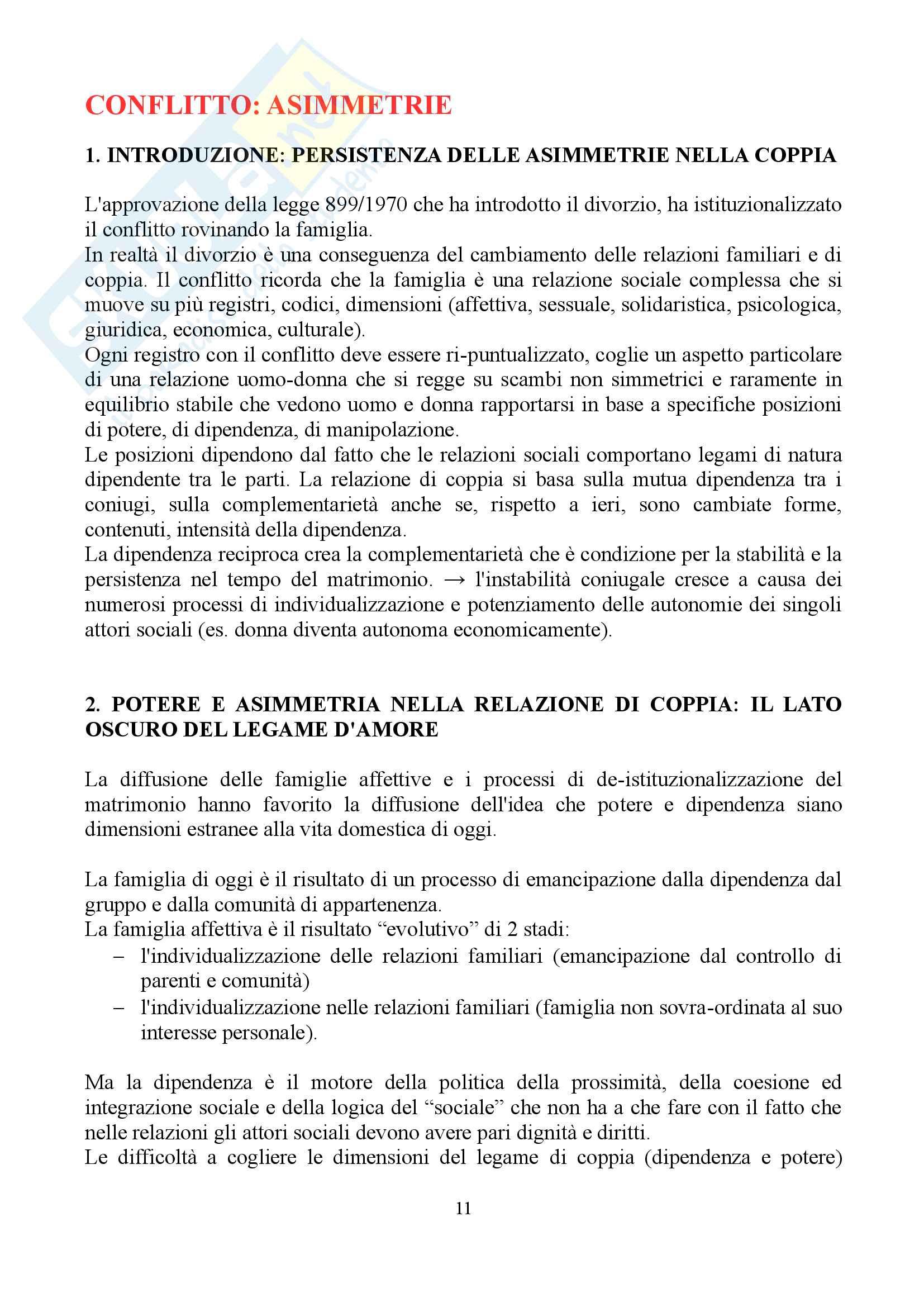 """Sunto di sociologia della famiglia, docente Diego Mesa, libro consigliato """"famiglia sostantivo plurale"""", Paola Di Nicola) Pag. 11"""