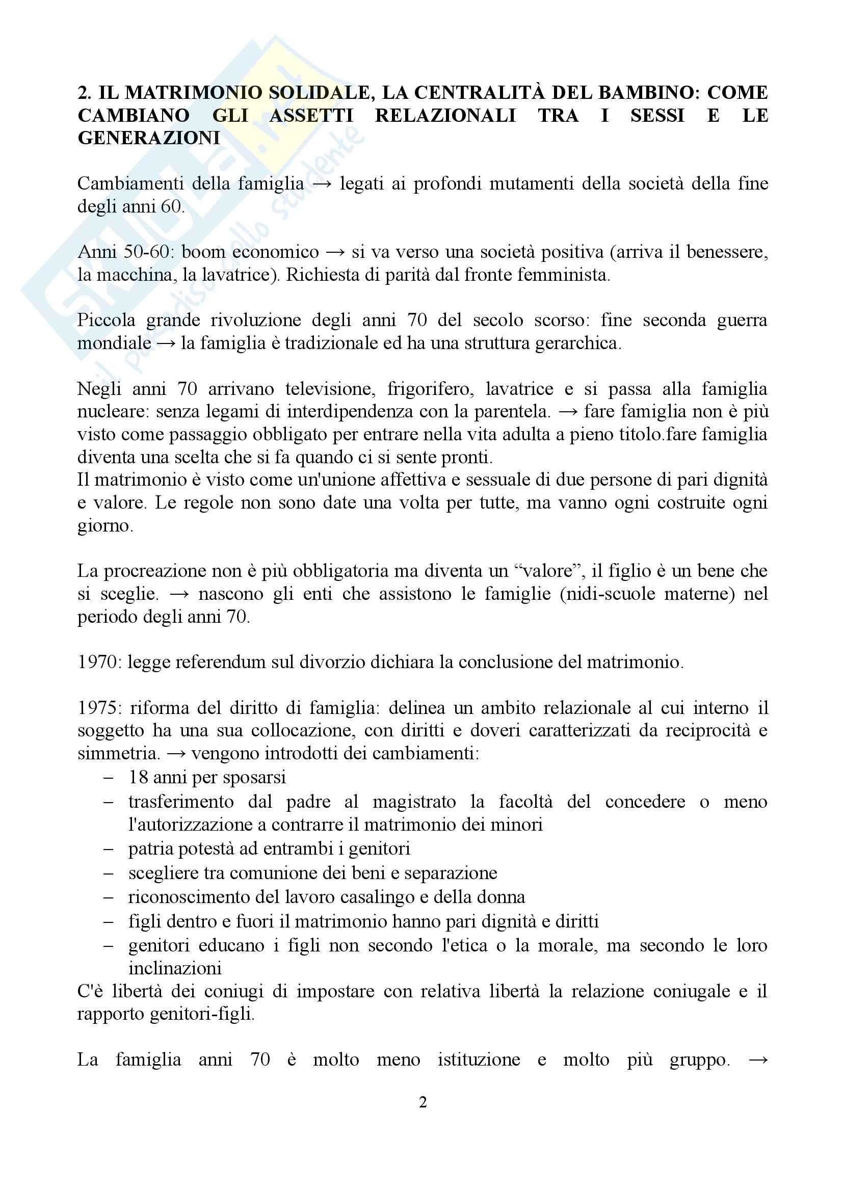 """Sunto di sociologia della famiglia, docente Diego Mesa, libro consigliato """"famiglia sostantivo plurale"""", Paola Di Nicola) Pag. 2"""