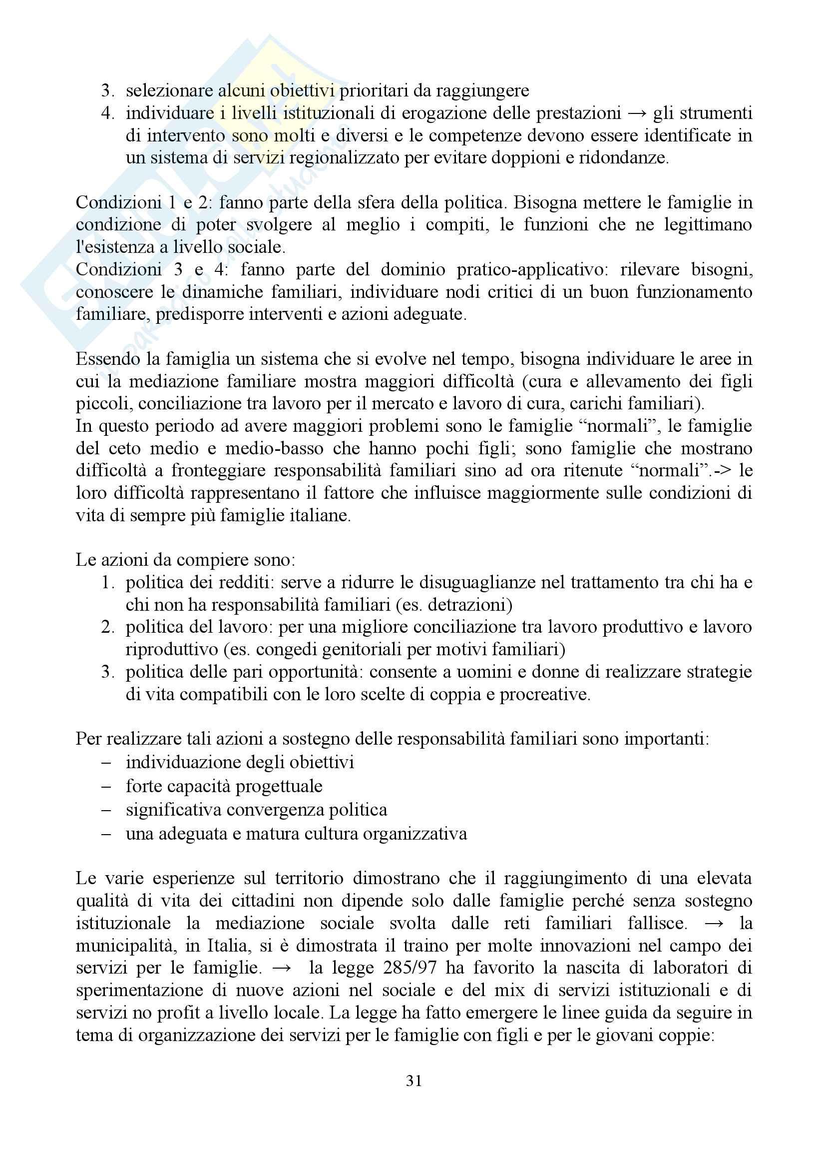 """Sunto di sociologia della famiglia, docente Diego Mesa, libro consigliato """"famiglia sostantivo plurale"""", Paola Di Nicola) Pag. 31"""