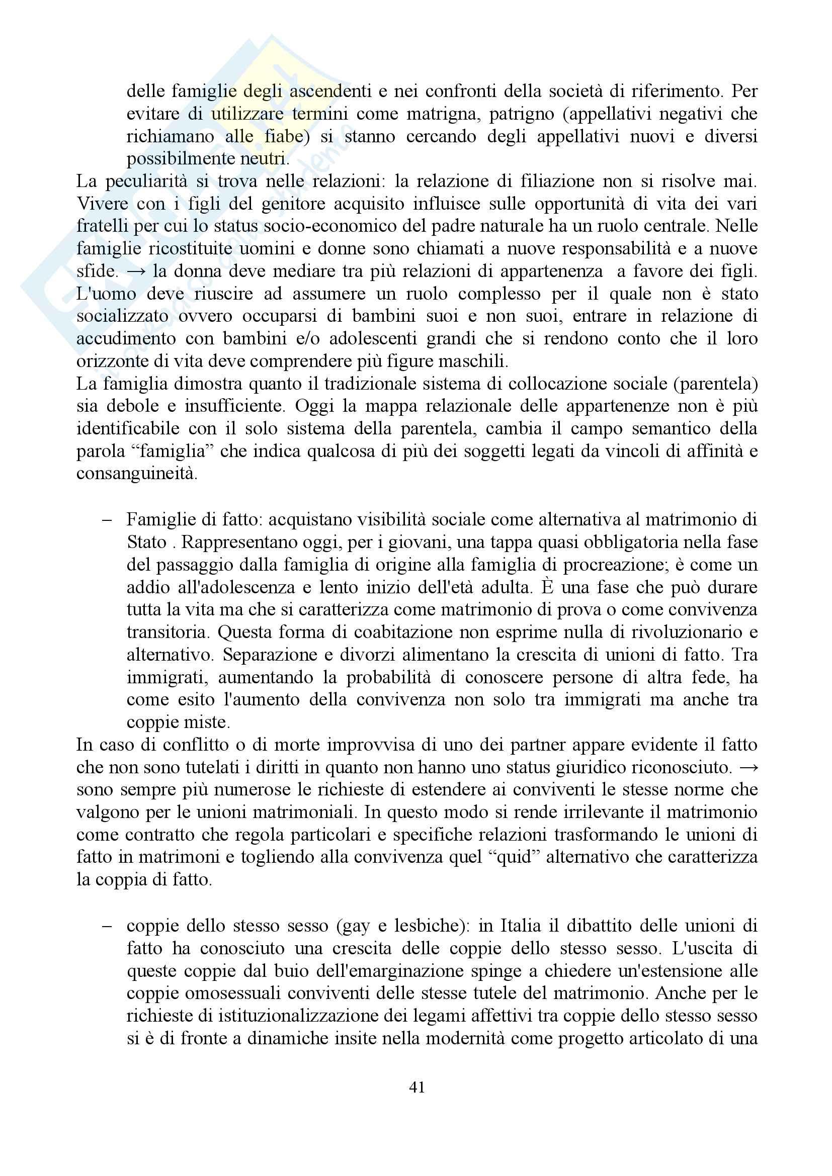 """Sunto di sociologia della famiglia, docente Diego Mesa, libro consigliato """"famiglia sostantivo plurale"""", Paola Di Nicola) Pag. 41"""