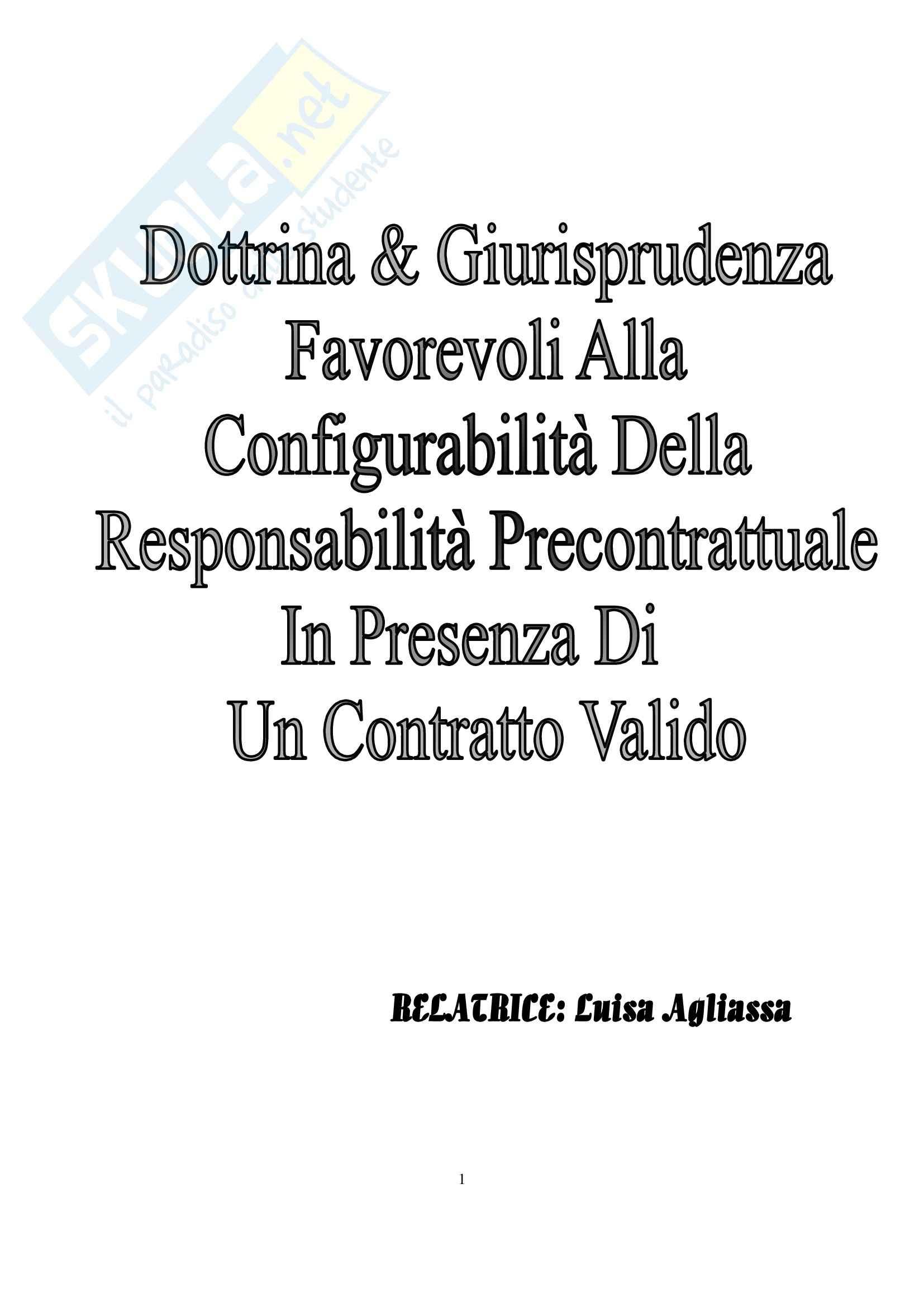 Diritto Civile - configurabilità della responsabilità precontrattuale in presenza di un contratto validamente concluso