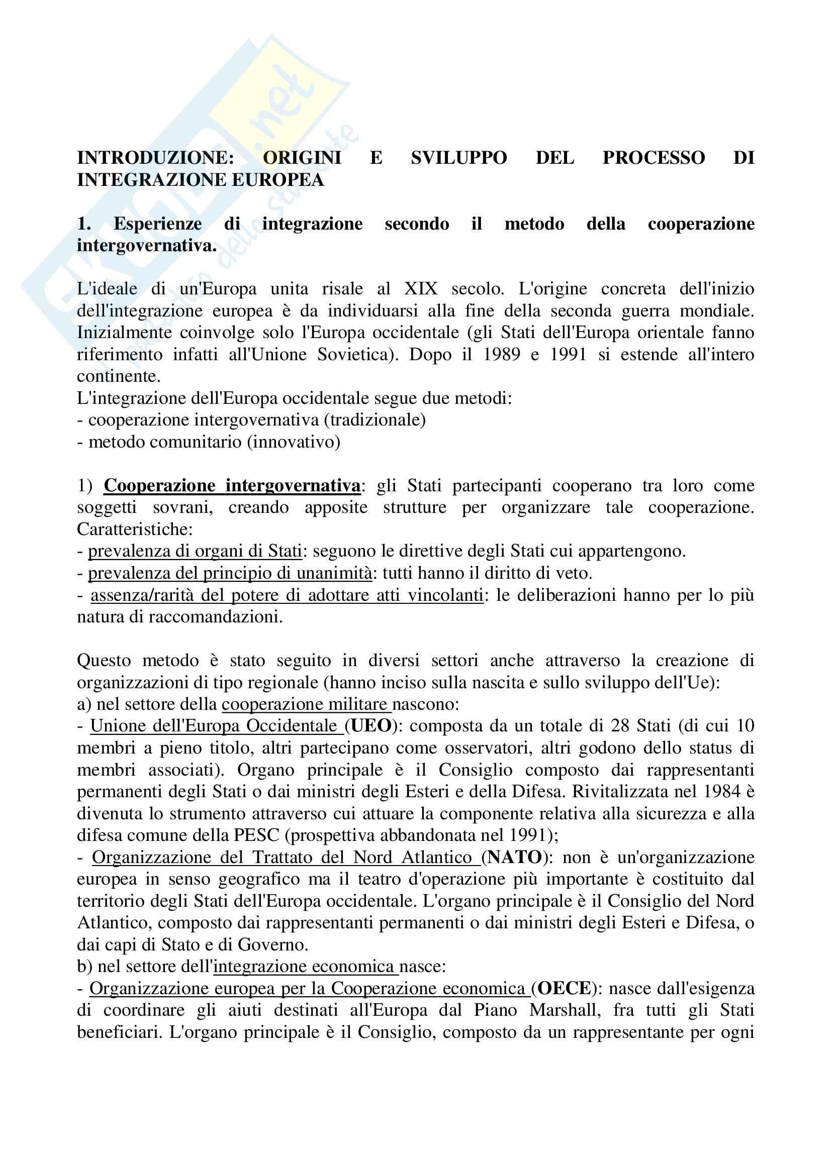 Riassunto esame Diritto dell'Unione Europea, prof. Barel, libro consigliato Diritto dell'Unione Europea, Daniele
