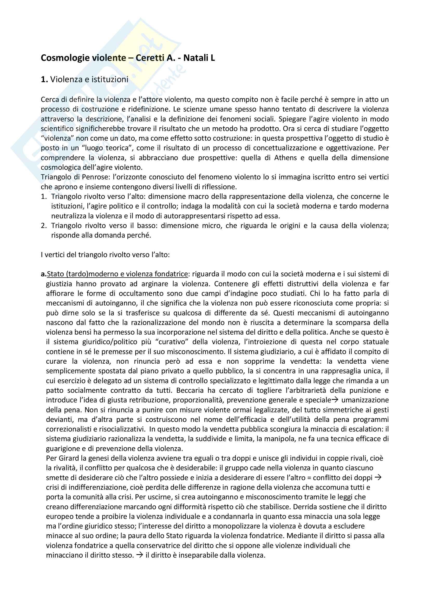 """Riassunto dell'esame: """"Criminologia prof. Ceretti, libro consigliato Cosmologie violente"""