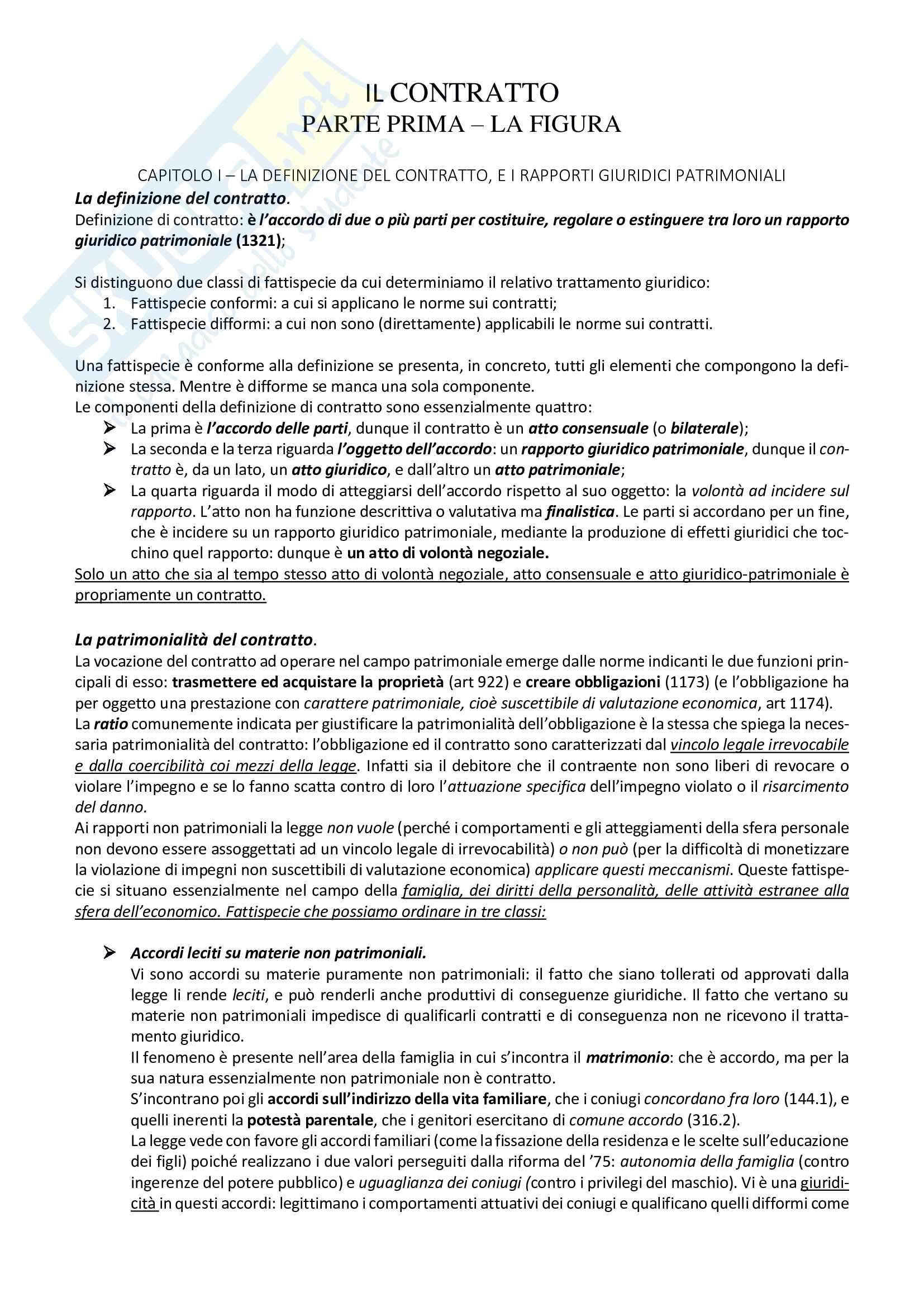 Riassunto esame Diritto civile 1, prof Roppo, libro consigliato Il contratto, Roppo