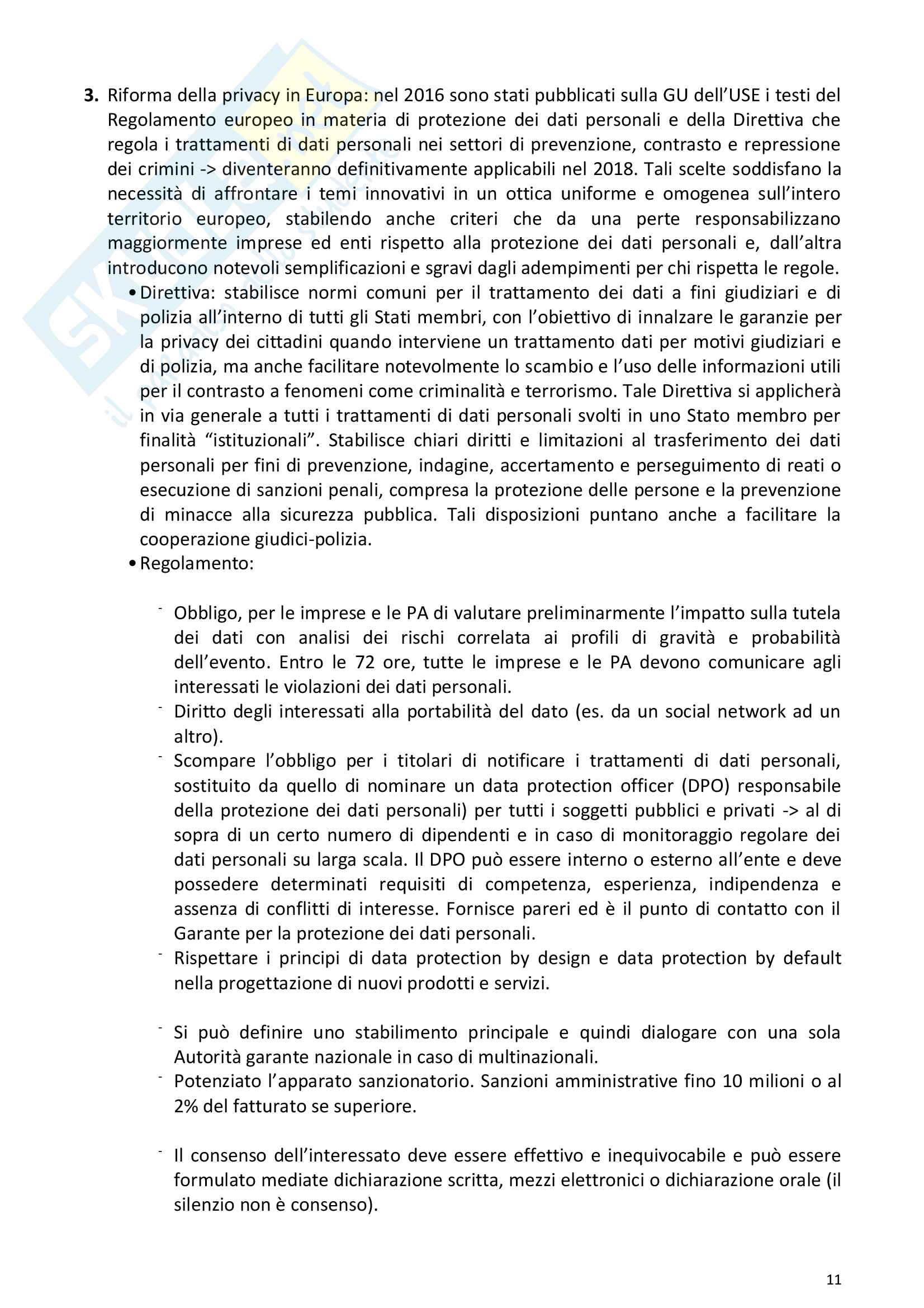 Riassunto esame Diritto della comunicazione per le imprese e i media, prof. Razzante. Libro consigliato Manuale di diritto dell'informazione e della comunicazione (Settima 7 edizione), Razzante (cap. 1,3,5,6,7,8,9) Pag. 11