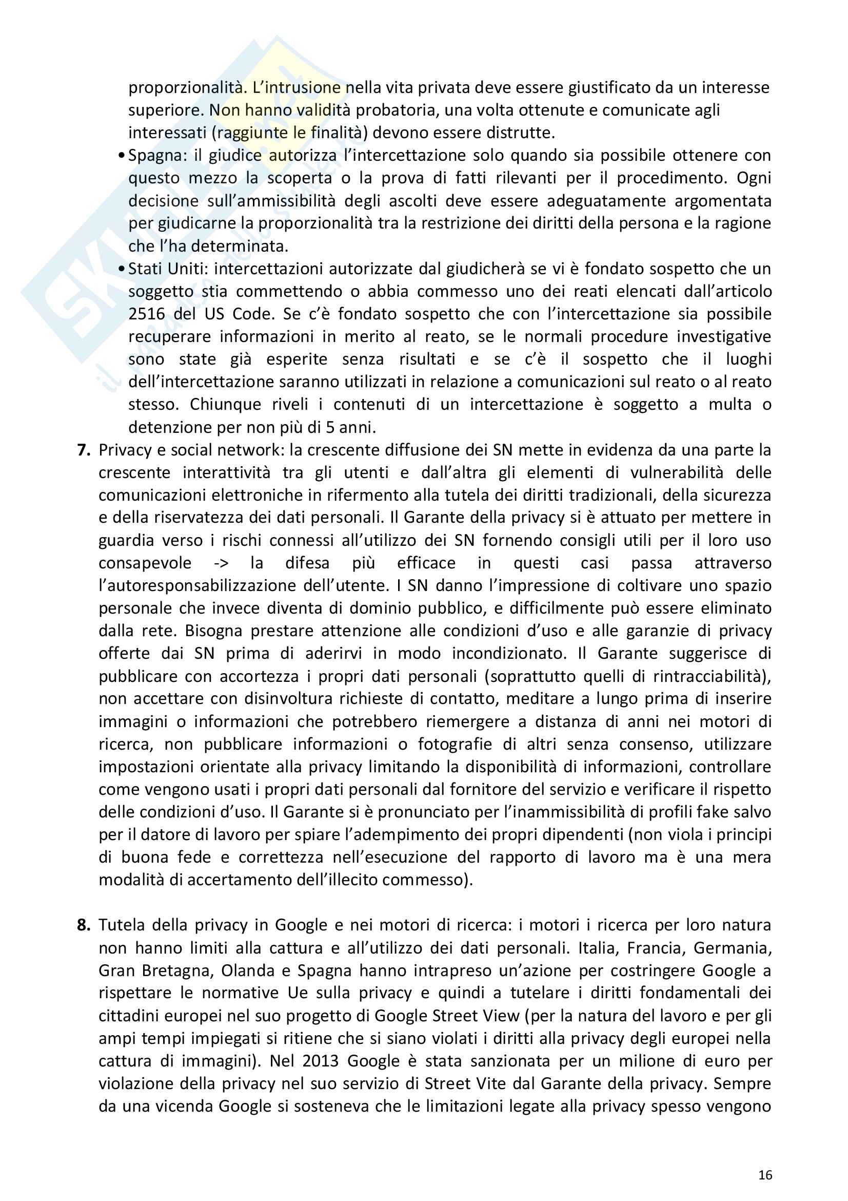 Riassunto esame Diritto della comunicazione per le imprese e i media, prof. Razzante. Libro consigliato Manuale di diritto dell'informazione e della comunicazione (Settima 7 edizione), Razzante (cap. 1,3,5,6,7,8,9) Pag. 16