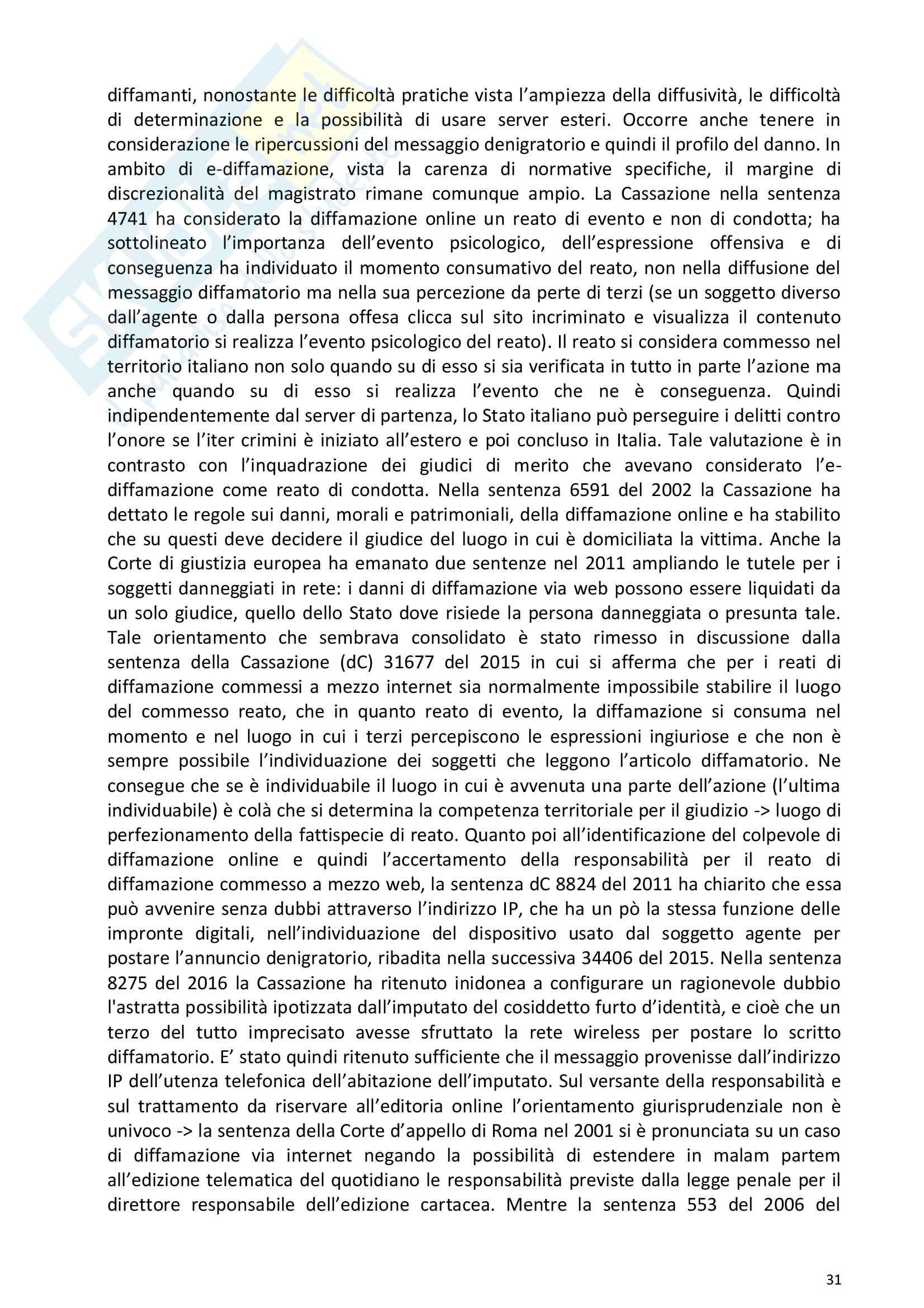 Riassunto esame Diritto della comunicazione per le imprese e i media, prof. Razzante. Libro consigliato Manuale di diritto dell'informazione e della comunicazione (Settima 7 edizione), Razzante (cap. 1,3,5,6,7,8,9) Pag. 31