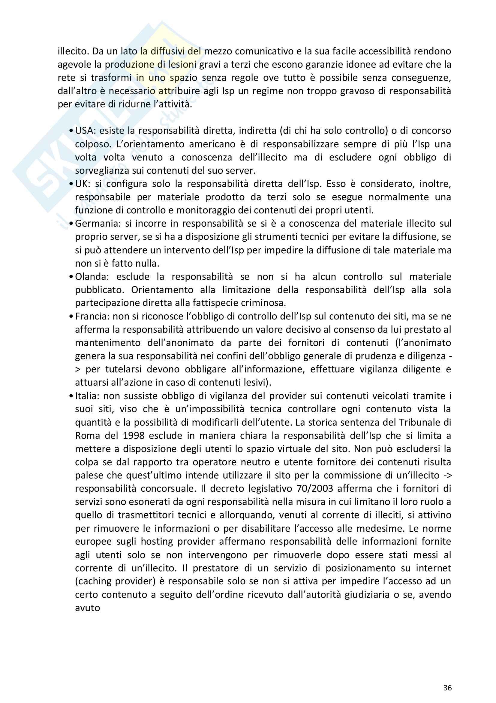Riassunto esame Diritto della comunicazione per le imprese e i media, prof. Razzante. Libro consigliato Manuale di diritto dell'informazione e della comunicazione (Settima 7 edizione), Razzante (cap. 1,3,5,6,7,8,9) Pag. 36