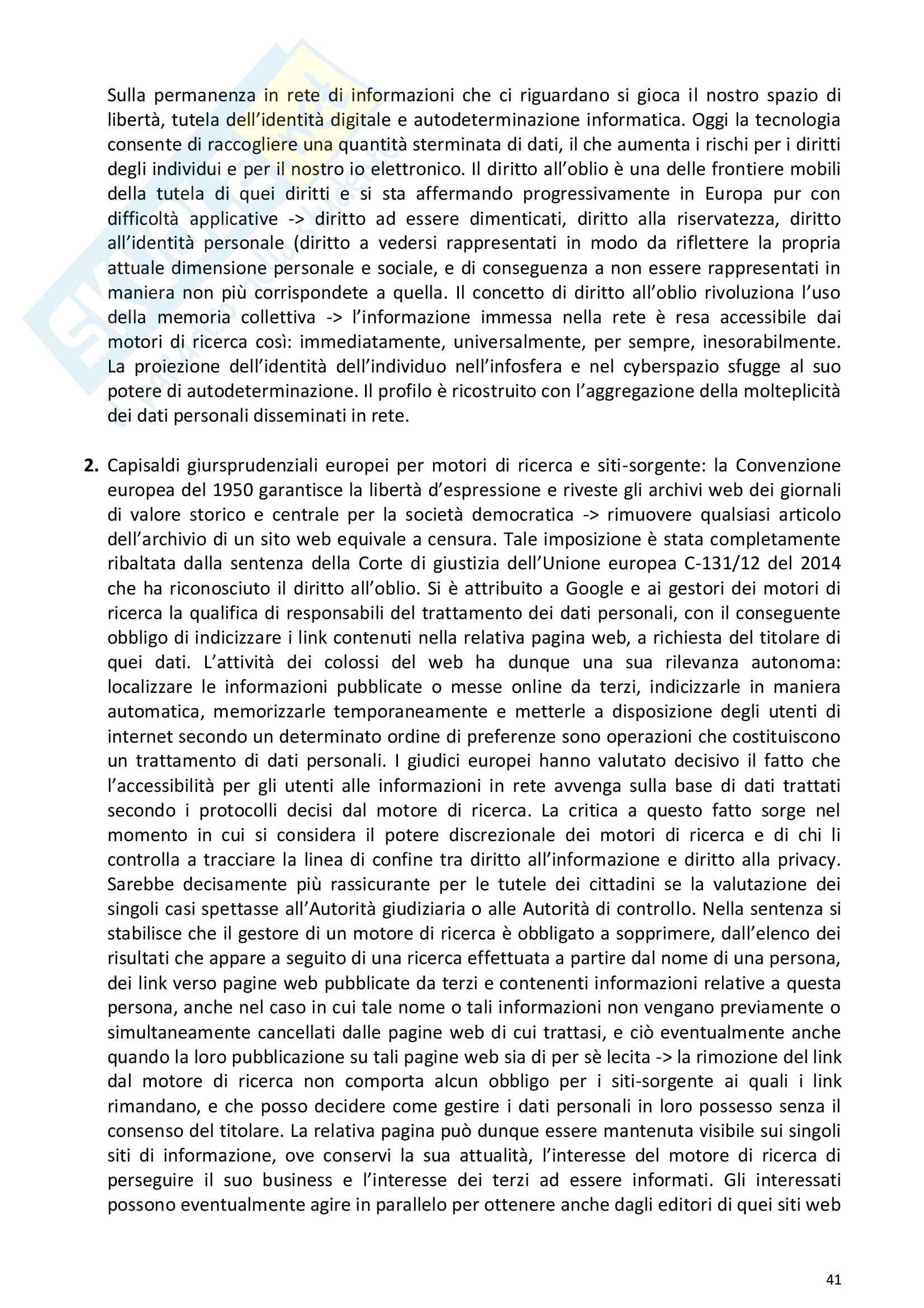 Riassunto esame Diritto della comunicazione per le imprese e i media, prof. Razzante. Libro consigliato Manuale di diritto dell'informazione e della comunicazione (Settima 7 edizione), Razzante (cap. 1,3,5,6,7,8,9) Pag. 41