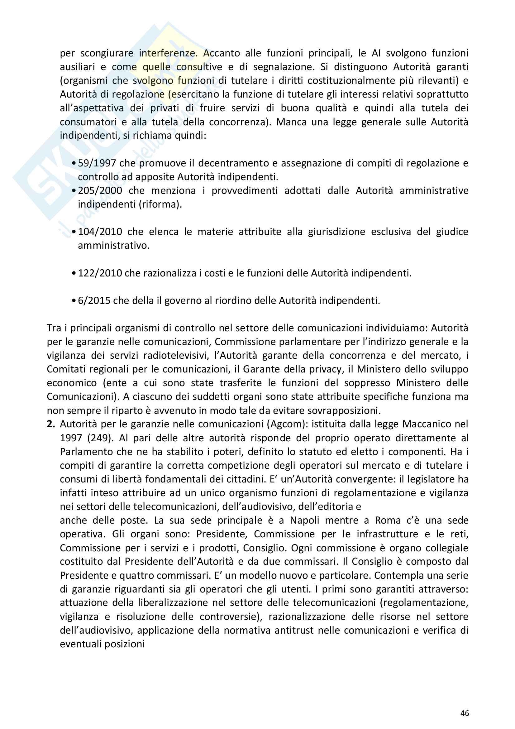 Riassunto esame Diritto della comunicazione per le imprese e i media, prof. Razzante. Libro consigliato Manuale di diritto dell'informazione e della comunicazione (Settima 7 edizione), Razzante (cap. 1,3,5,6,7,8,9) Pag. 46