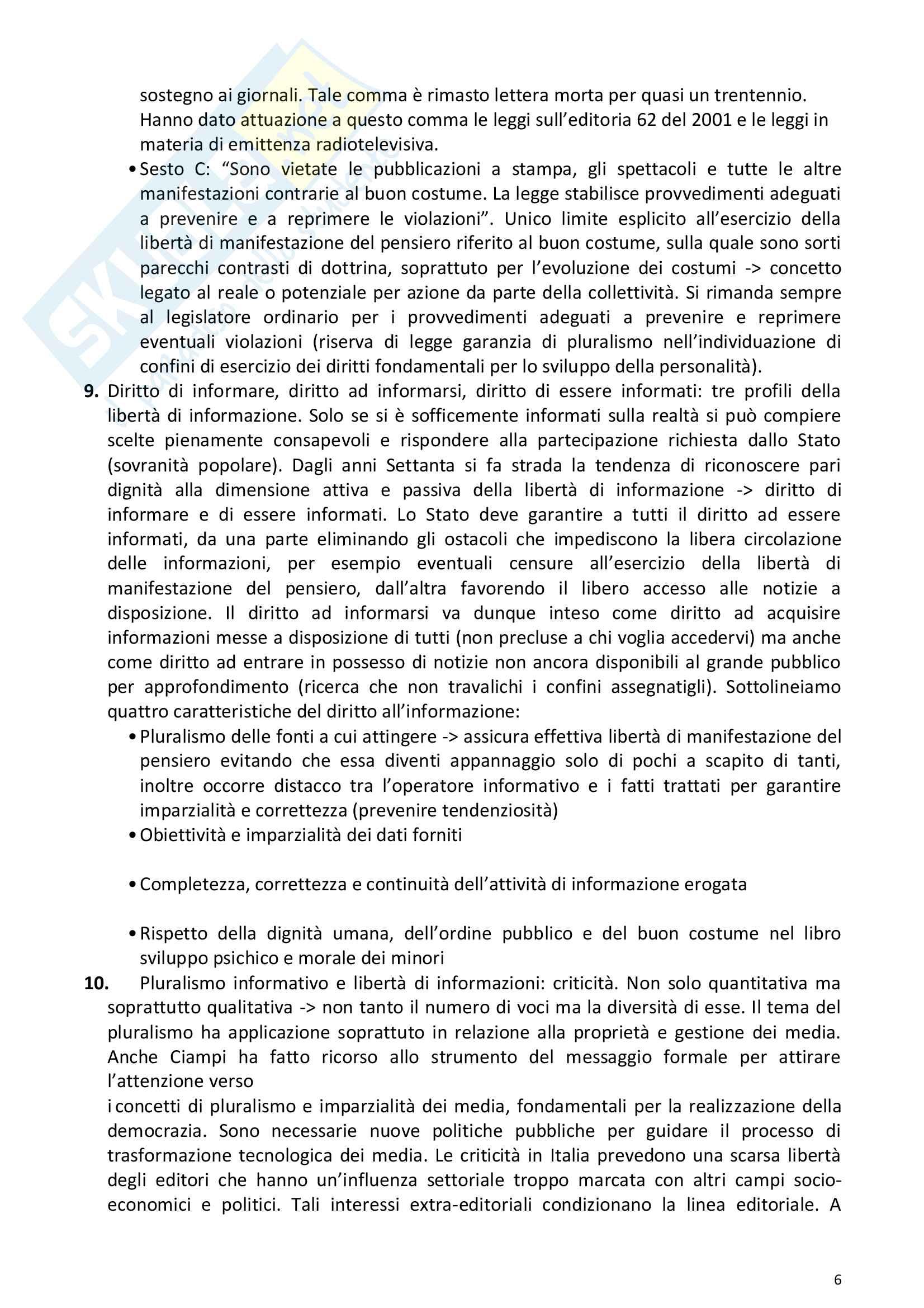 Riassunto esame Diritto della comunicazione per le imprese e i media, prof. Razzante. Libro consigliato Manuale di diritto dell'informazione e della comunicazione (Settima 7 edizione), Razzante (cap. 1,3,5,6,7,8,9) Pag. 6