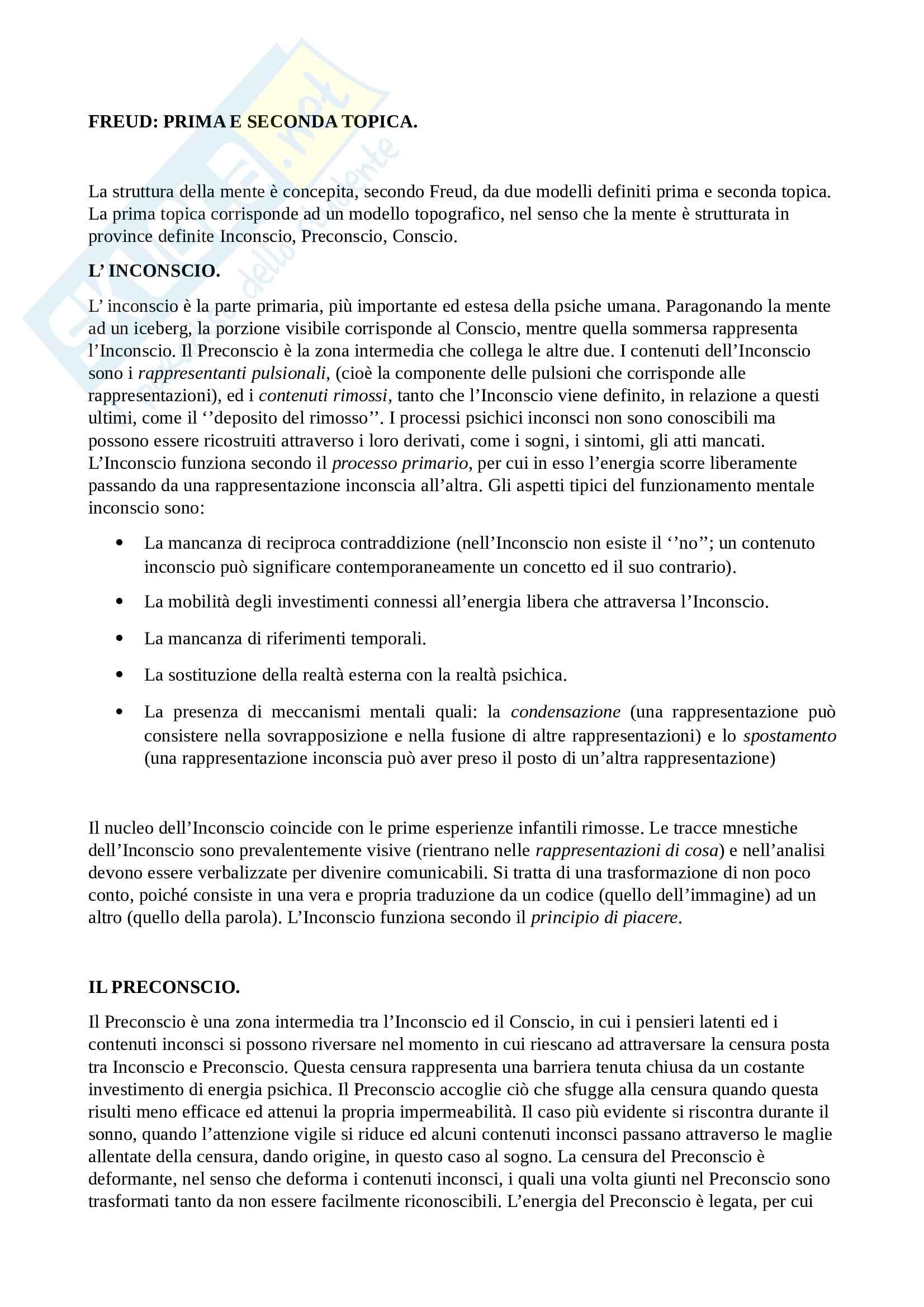 Freud. Prima e seconda topica (processo primario e secondario;principio di piacere e principio di realtà)